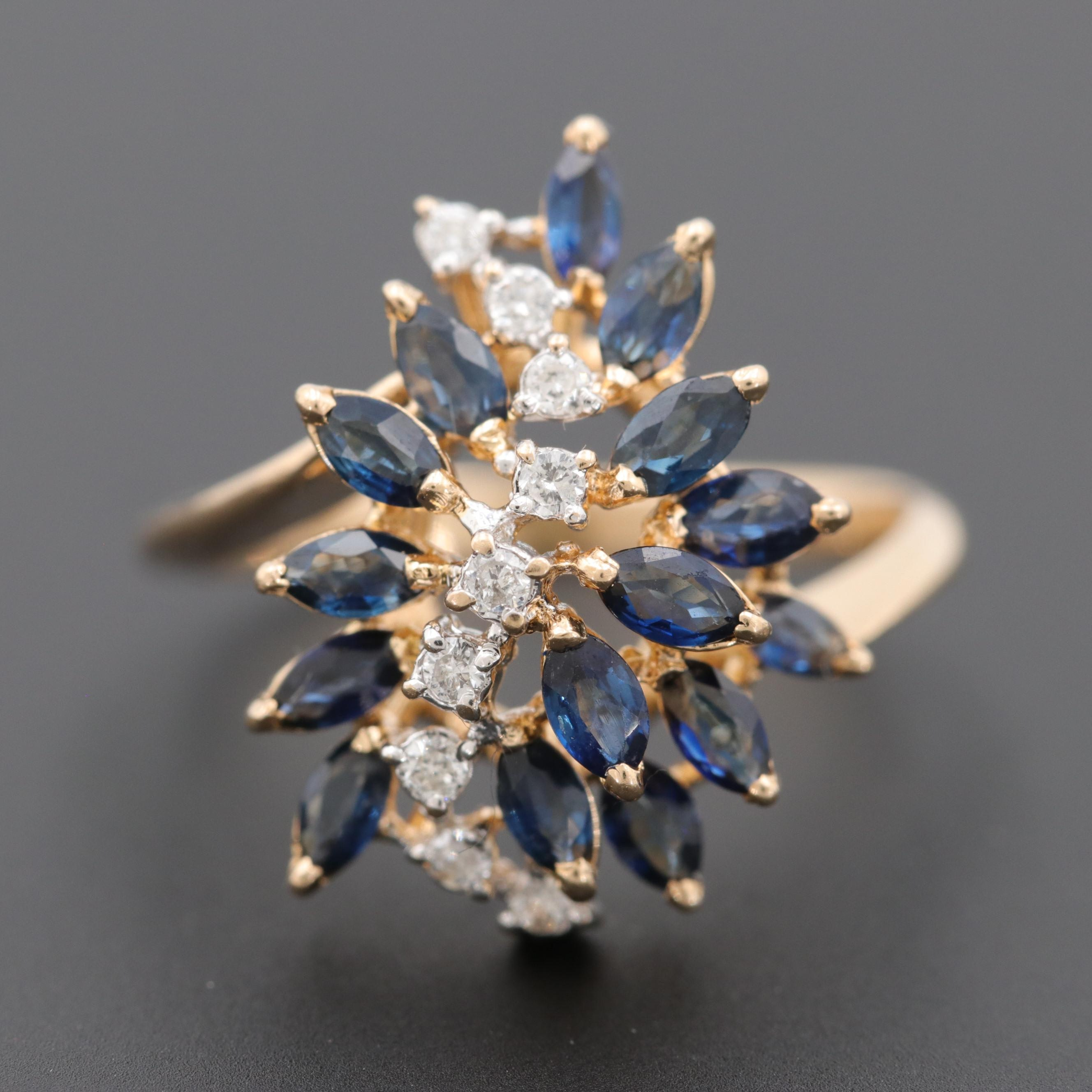 14K Yellow Gold Diamond and Blue Sapphire Cluster Ring