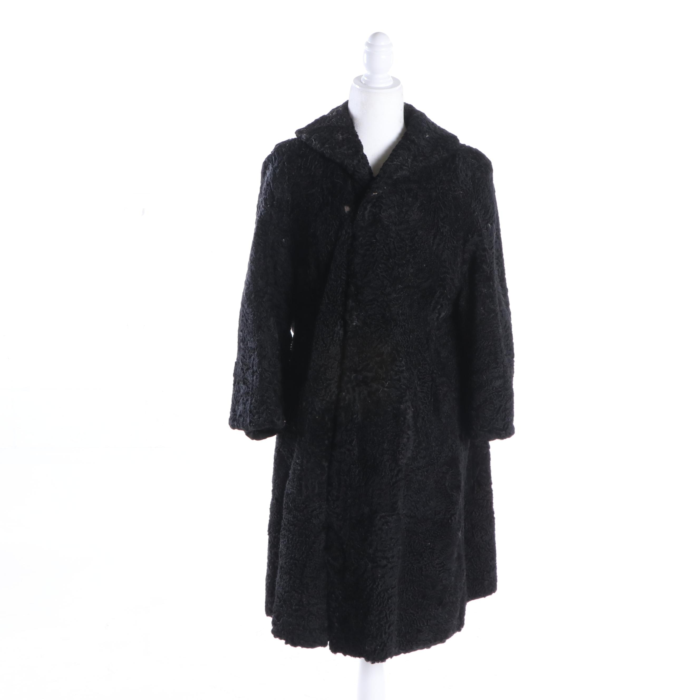 Cherry & Webb Co. Black Persian Lamb Fur Coat, Vintage