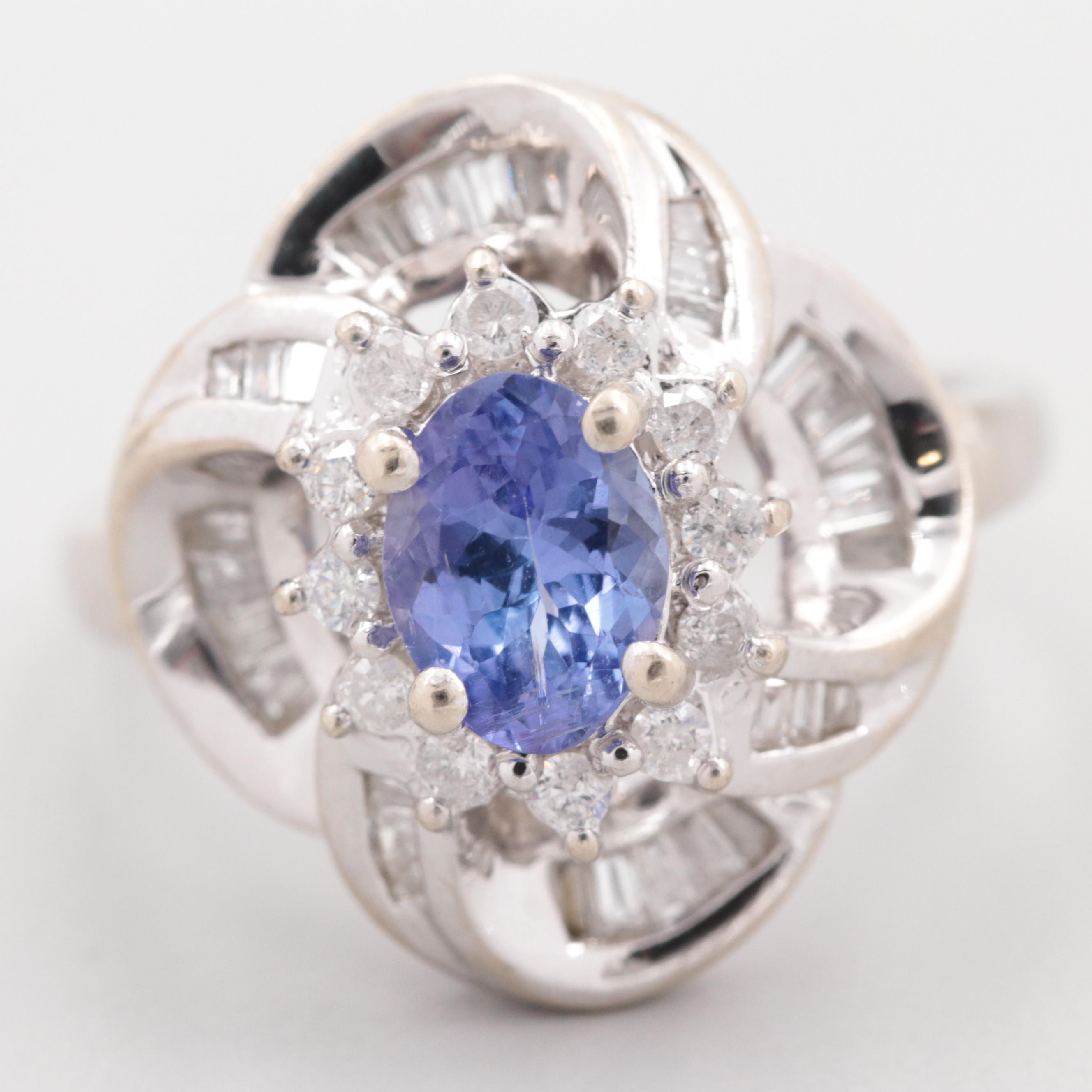 Vintage 14K White Gold Tanzanite Ring in Scalloped Mounting with Diamond Halo
