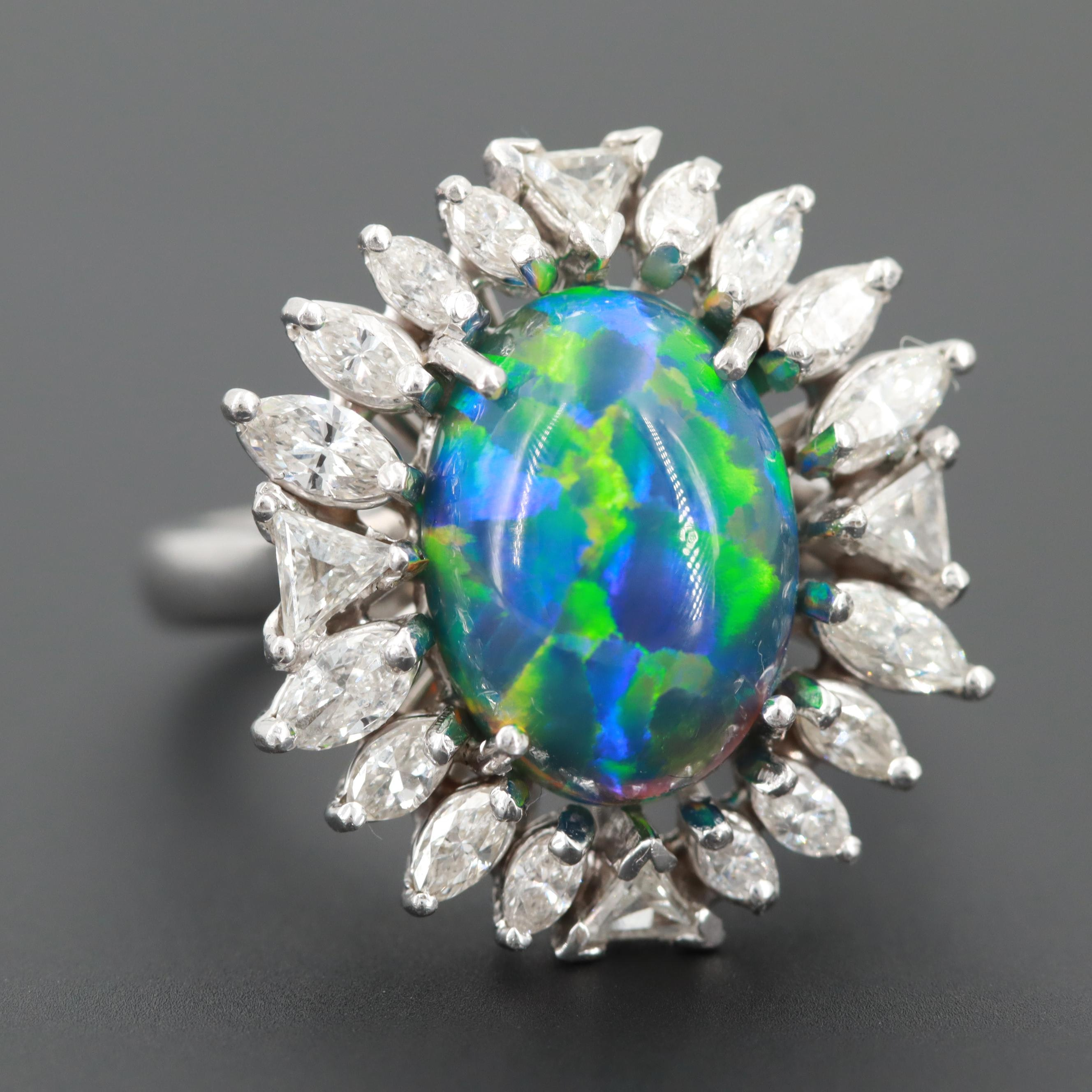 Platinum Synthetic Opal and 1.90 CTW Diamond Ring With GIA Report