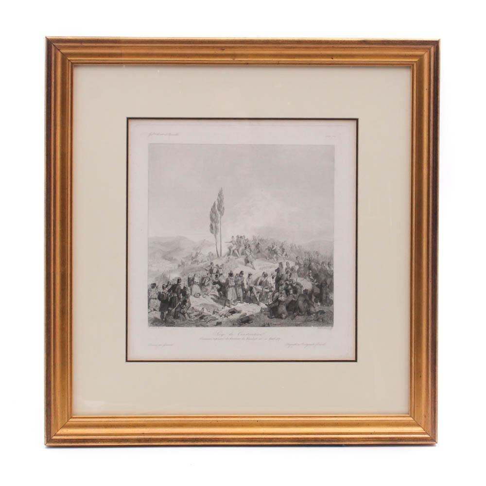 """Augustin Burdet Engraving After Horace Vernet """"Siege de Constantine"""""""