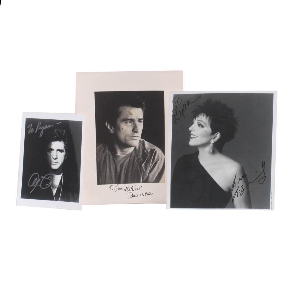Autographed Photos of Robert De Niro, Al Pacino and Liza Minnelli
