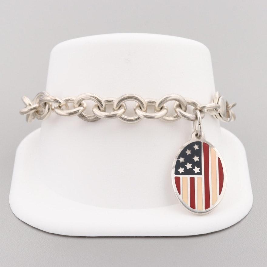 f28ebd537c235 Tiffany & Co. Sterling Silver Bracelet with Enamel American Flag Charm