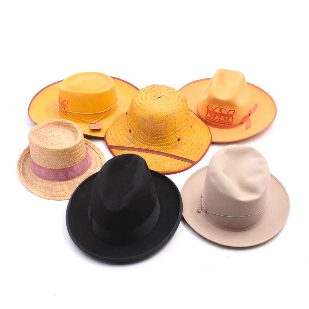 Men's Hats Including Stetson XXX Felted Beaver Fur, Vintage