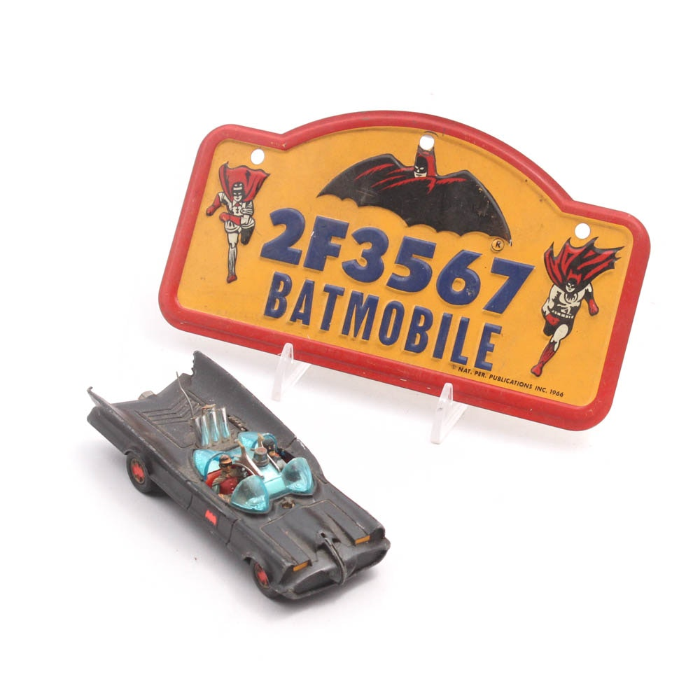 Corgi Toys Batmobile Toy Car and Bike License Plate