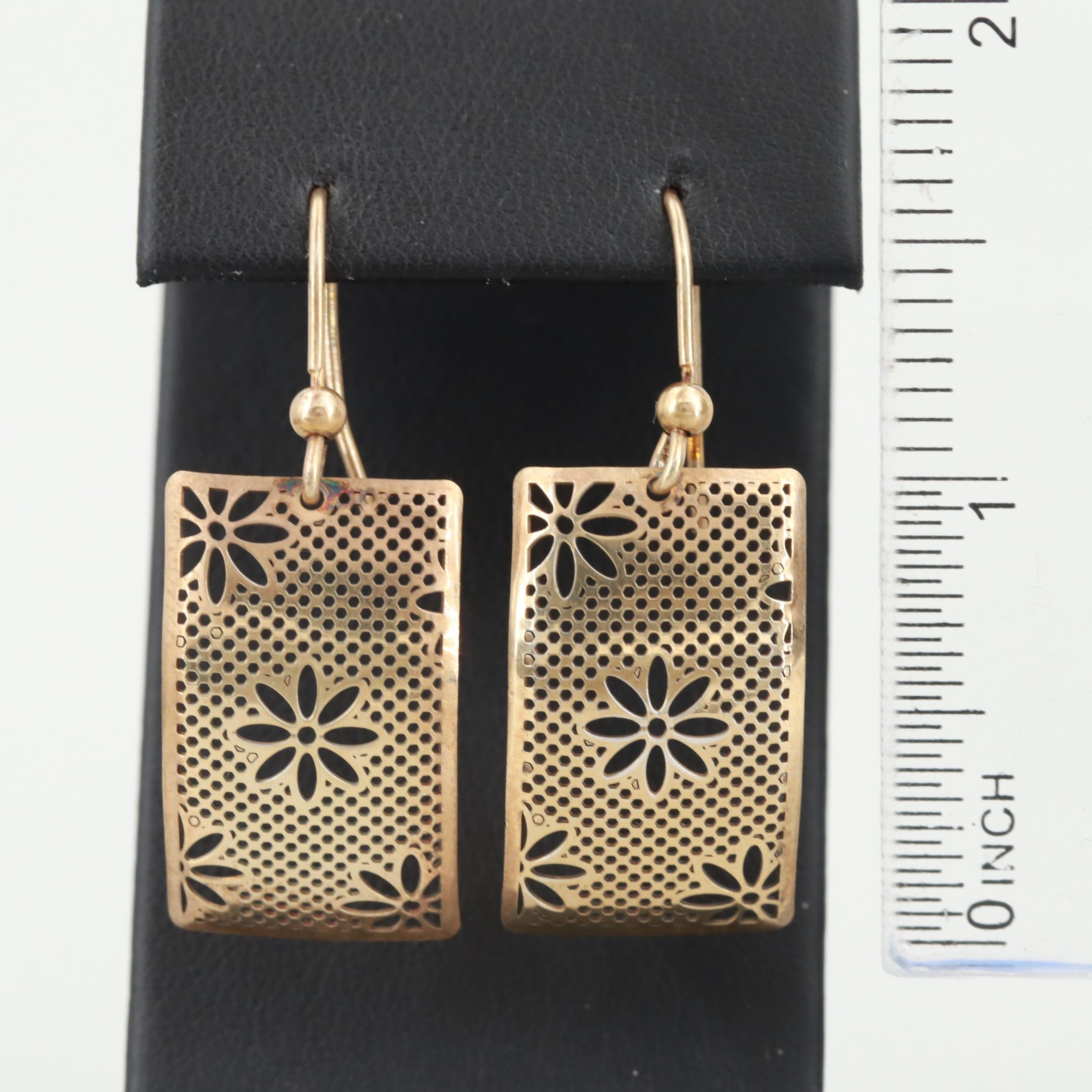 Gold Wash on Sterling Silver Floral Dangle Earrings