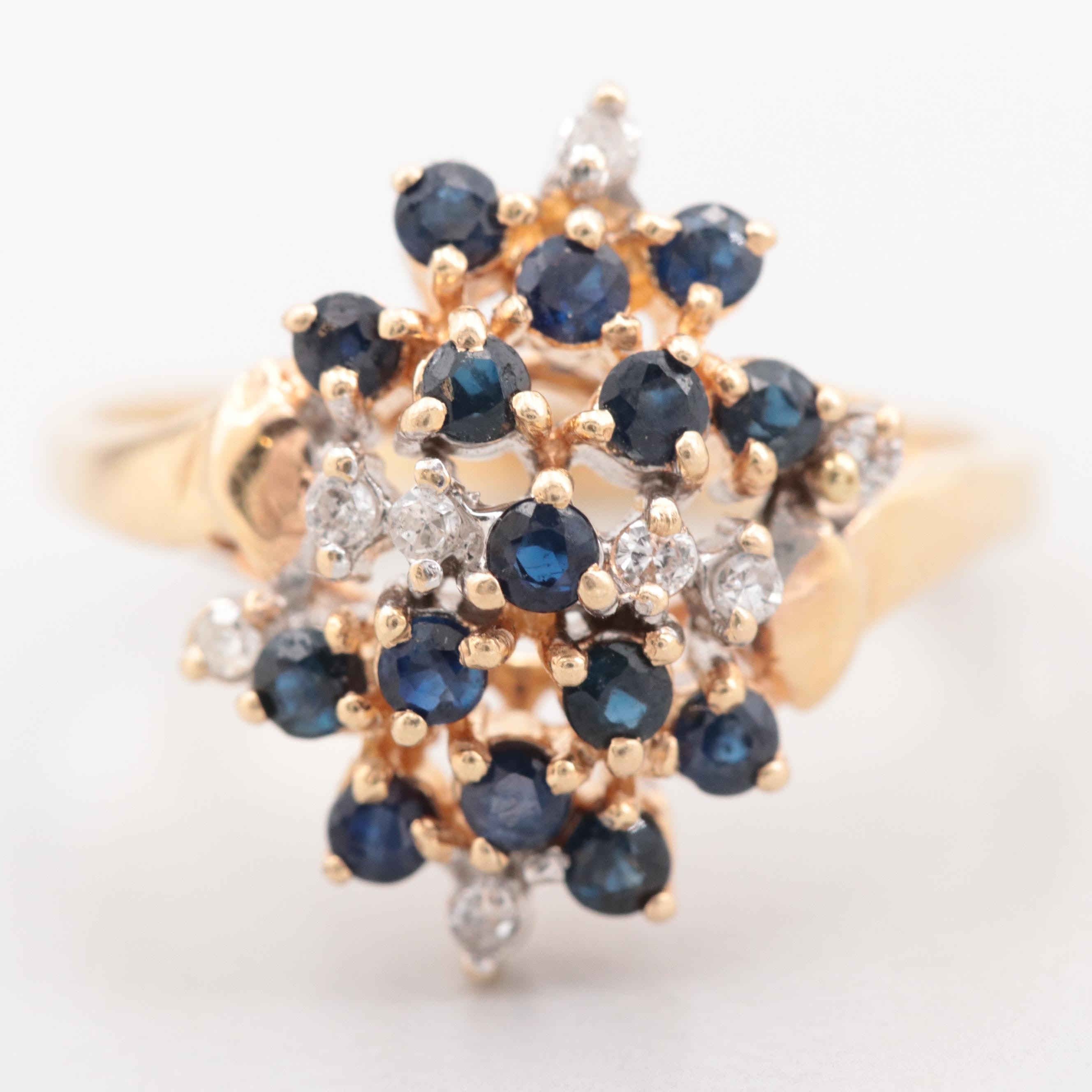 14K Yellow Gold Blue Sapphire and Diamond Cluster Ring
