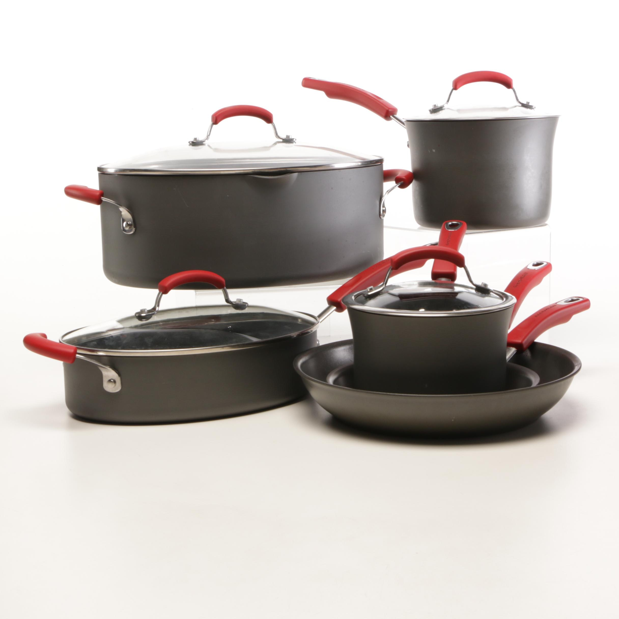Rachael Ray Hard Anodized Cookware in Grey and Red