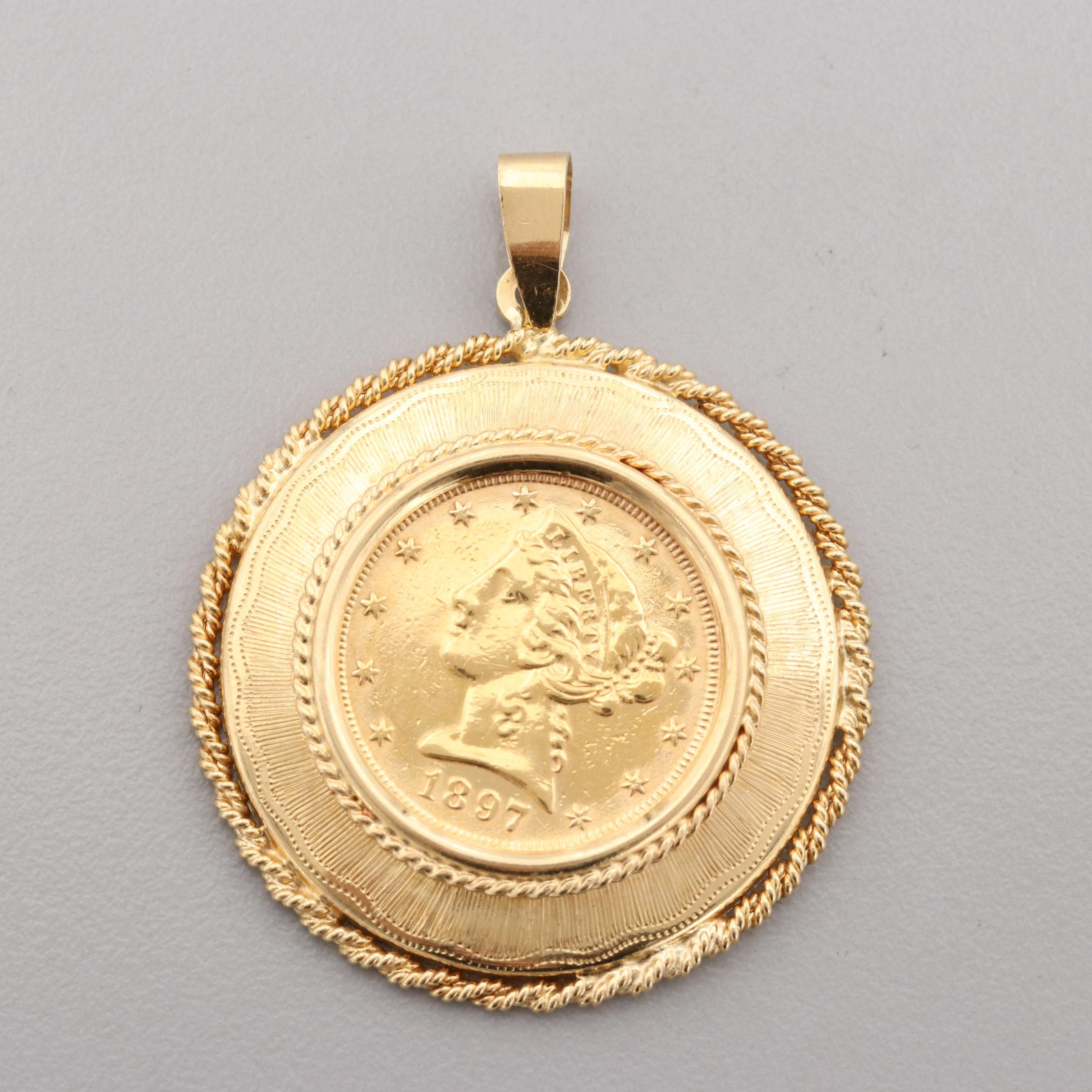 18K Yellow Gold Pendant with 1897 Liberty Head $5 Half Eagle Gold Coin