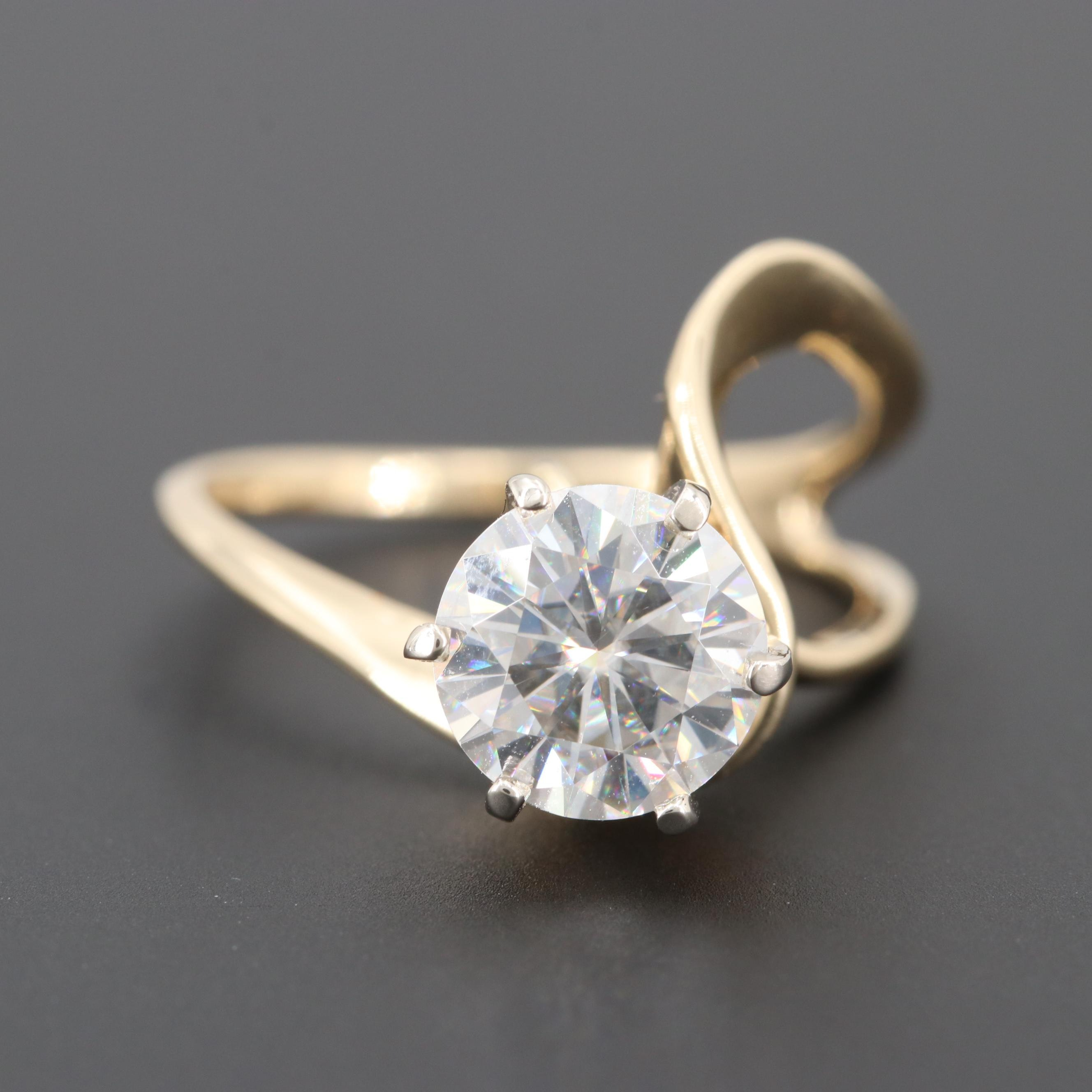 14K Yellow Gold Moissanite Ring with Hook for Shadow Band