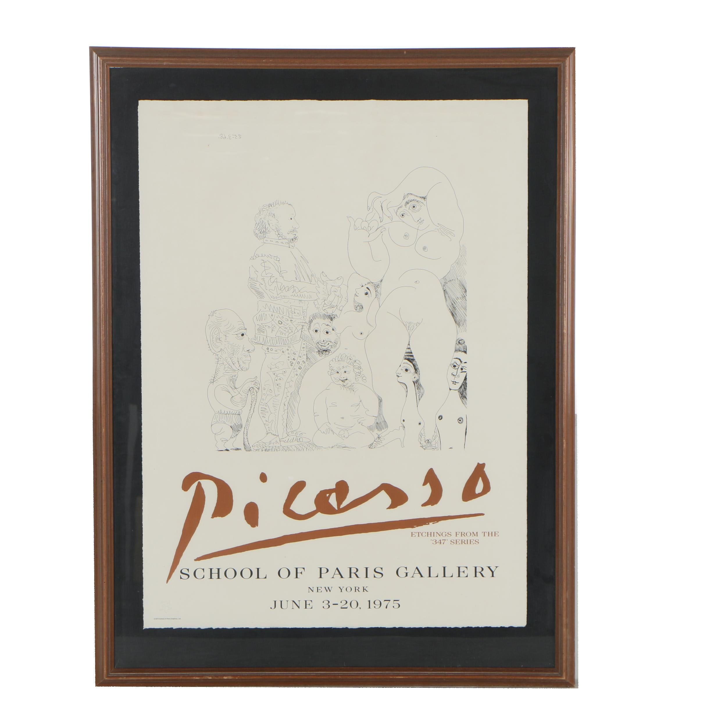 1975 School of Paris Gallery Lithograph Poster after Pablo Picasso