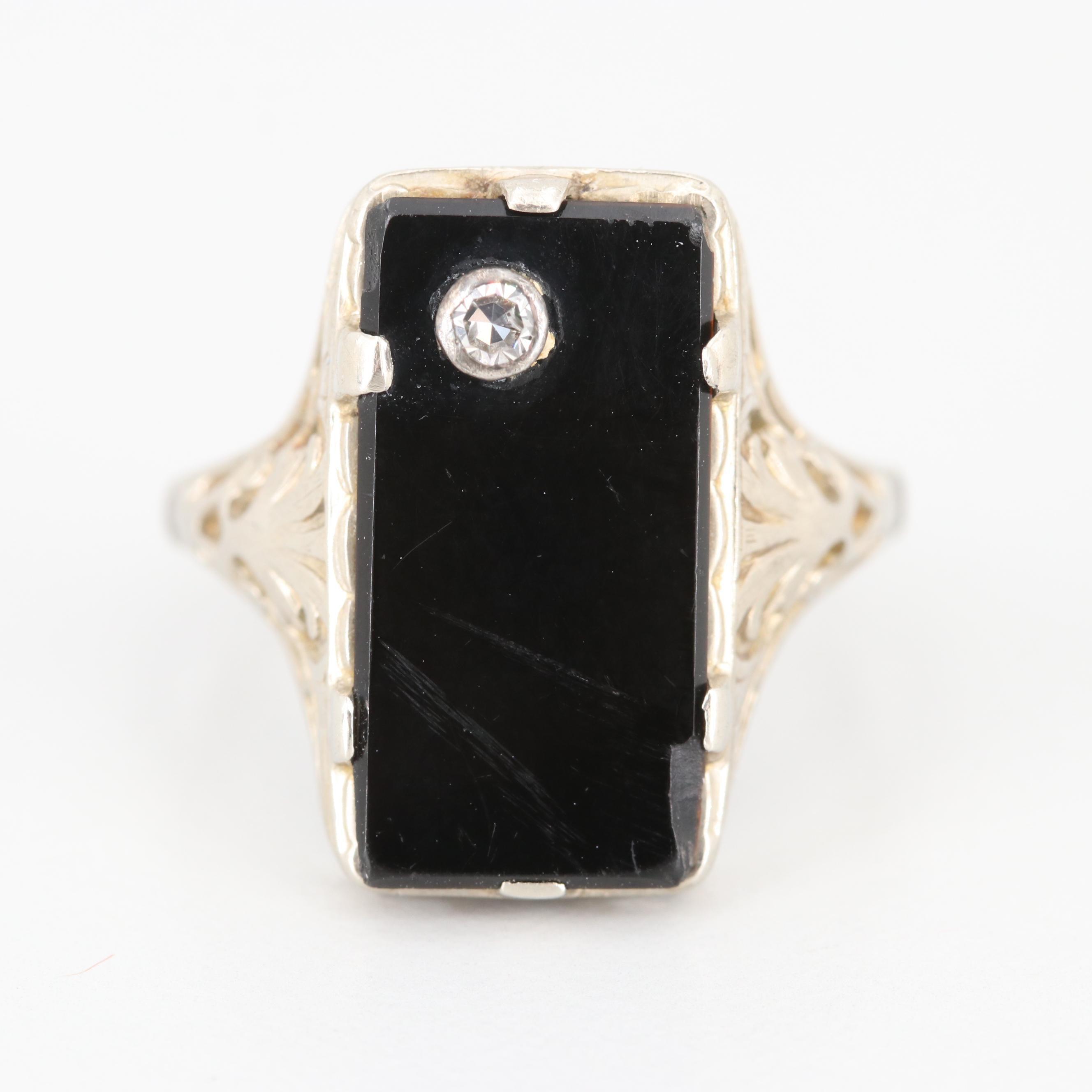 Art Deco 14K White Gold Black Onyx and Diamond Ring