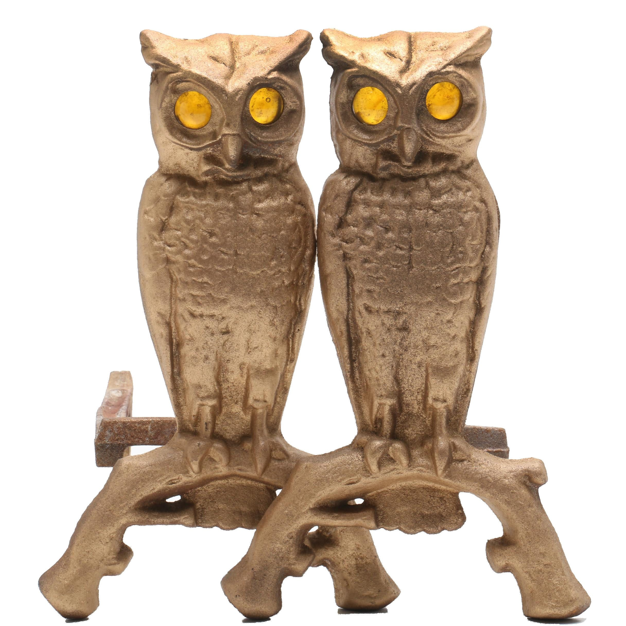 Cast Owl Andirons with Glass Eyes, circa 1930