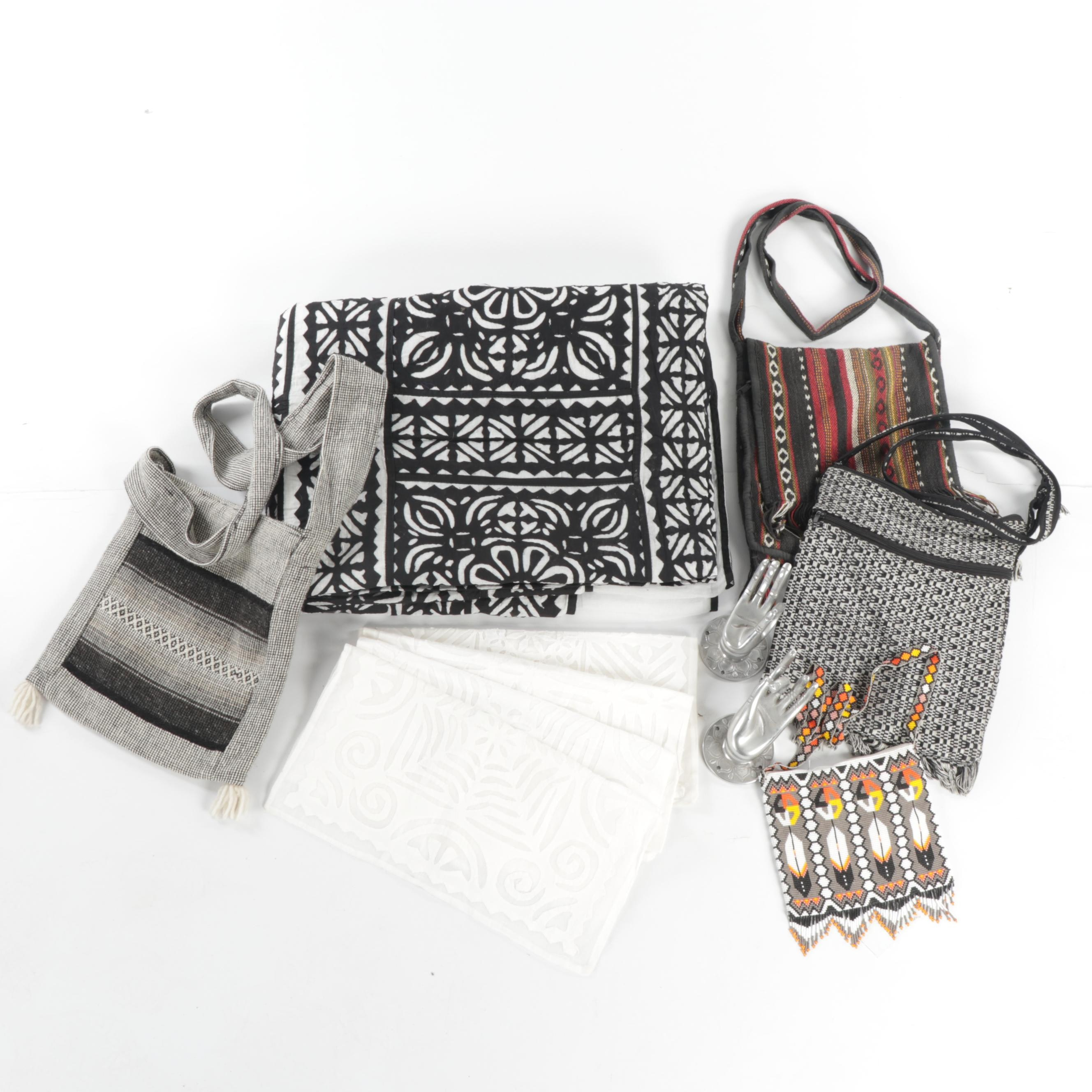 Beaded Huichol-Made Bag and Other Woven Folk Bags and Linens