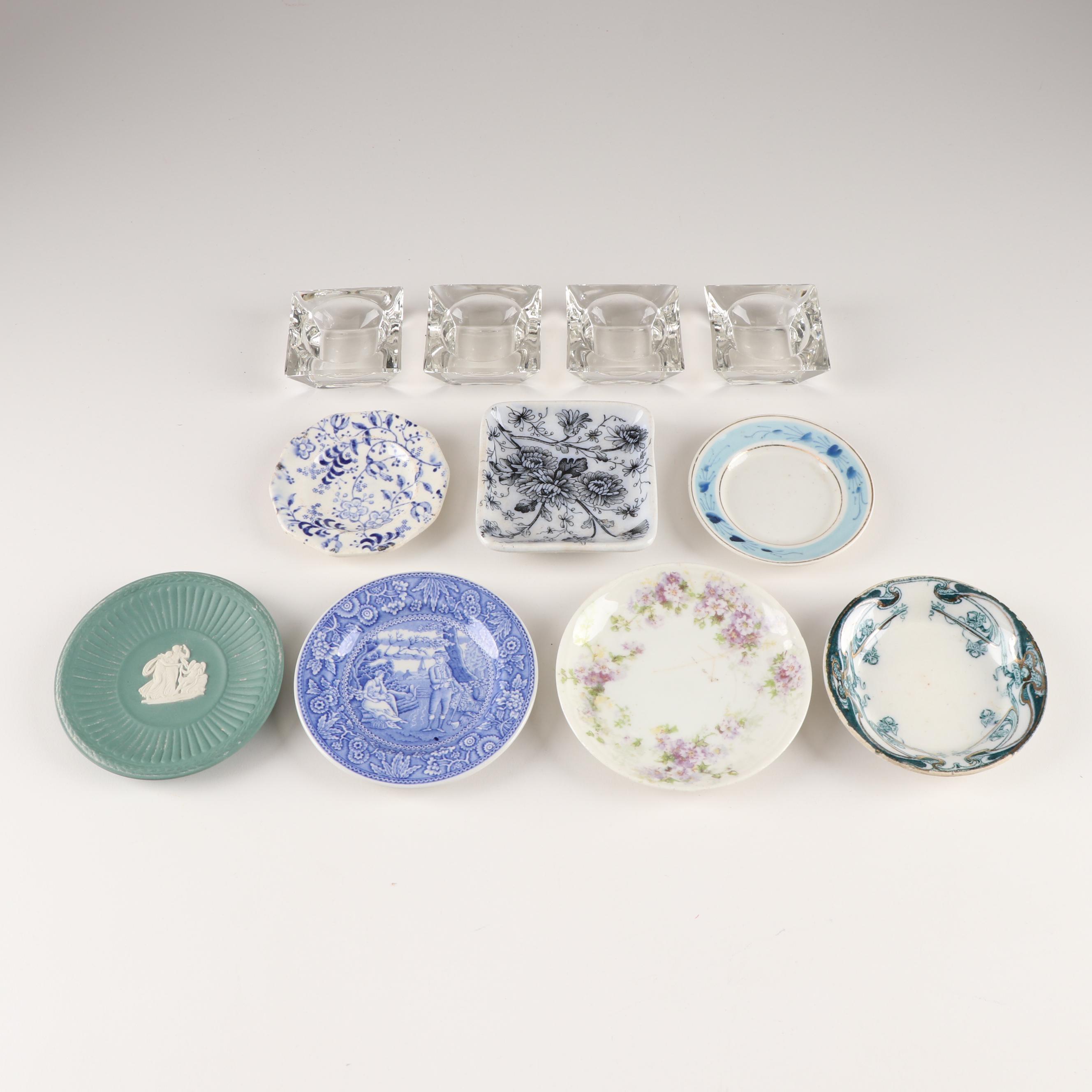 Ceramic Butter Pats and Glass Salt Cellars