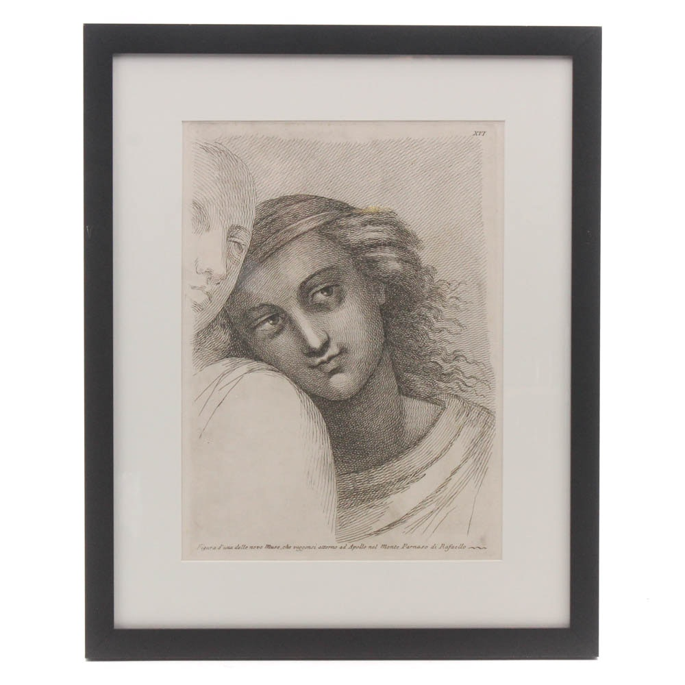 After Raphael Early 18th Century Copper Engraving on Hand-Laid Paper