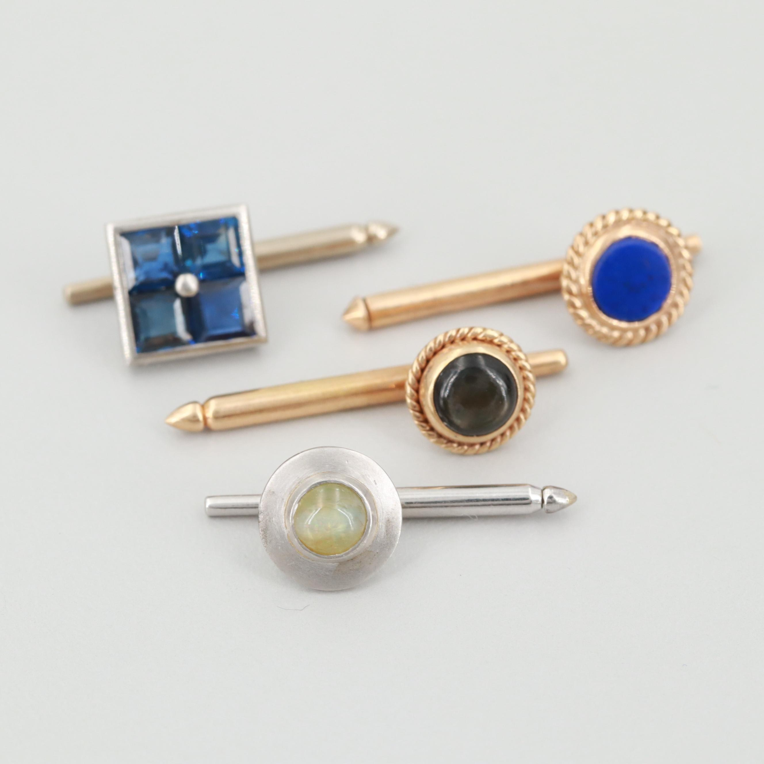 14K Gold and Platinum Single Cufflinks Including Black Star Sapphire