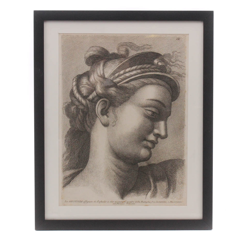Early 18th Century Copper Engraving After Raphael on Hand-Laid Paper