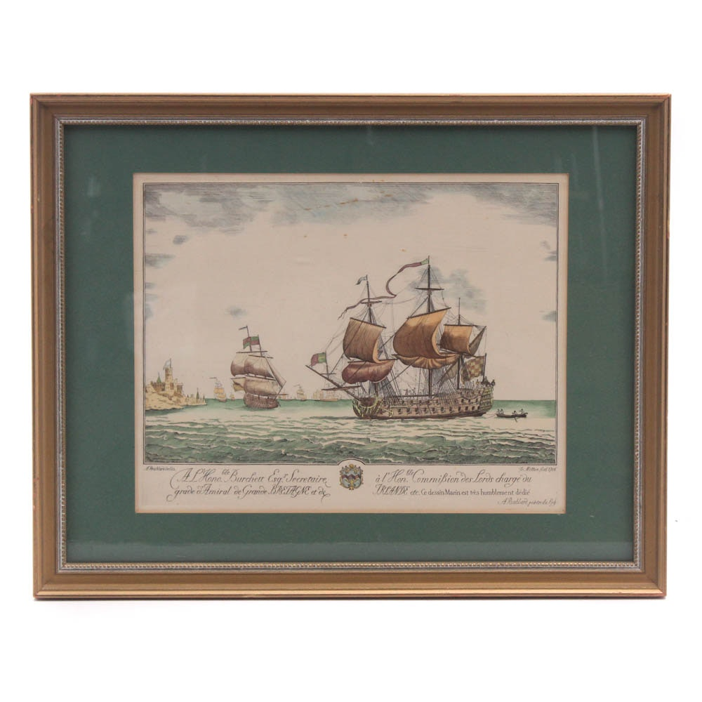 After A. Roublard 1706 Engraving Dedicated to French Naval Officer, Late 19th c.