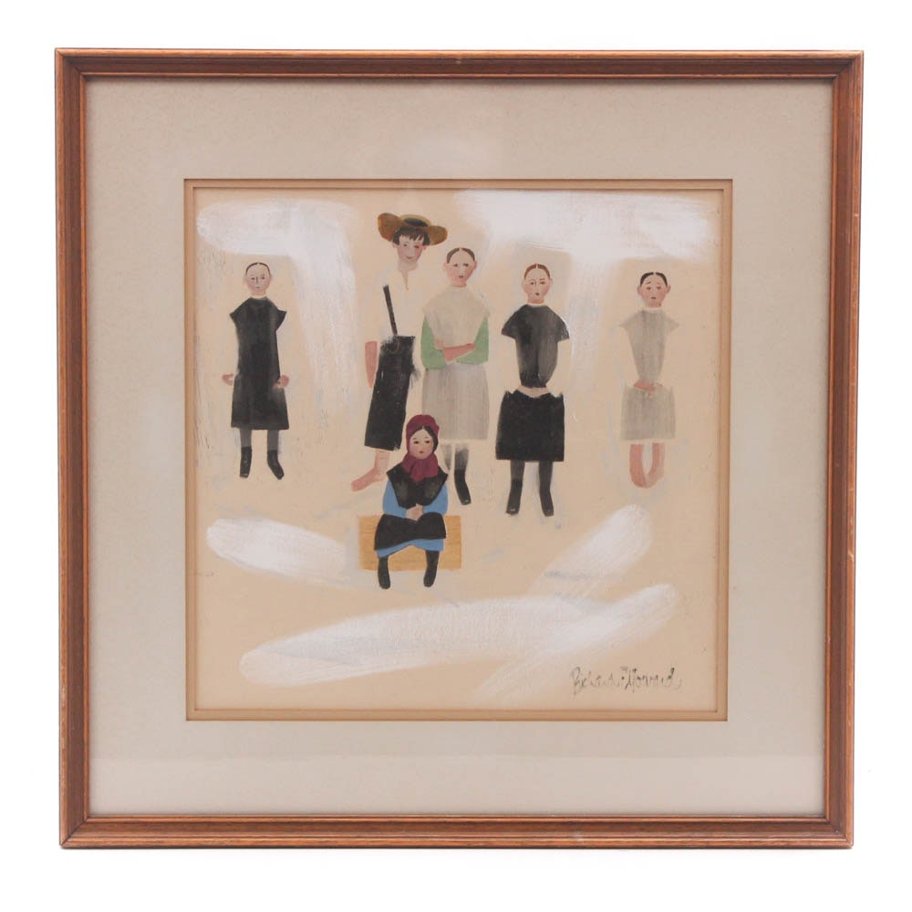 "After Richard E. Howard Offset Lithograph ""Amish Children"""