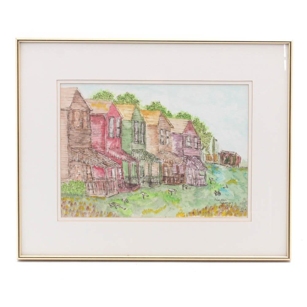 Norman Scroggins Watercolor and Ink Landscape