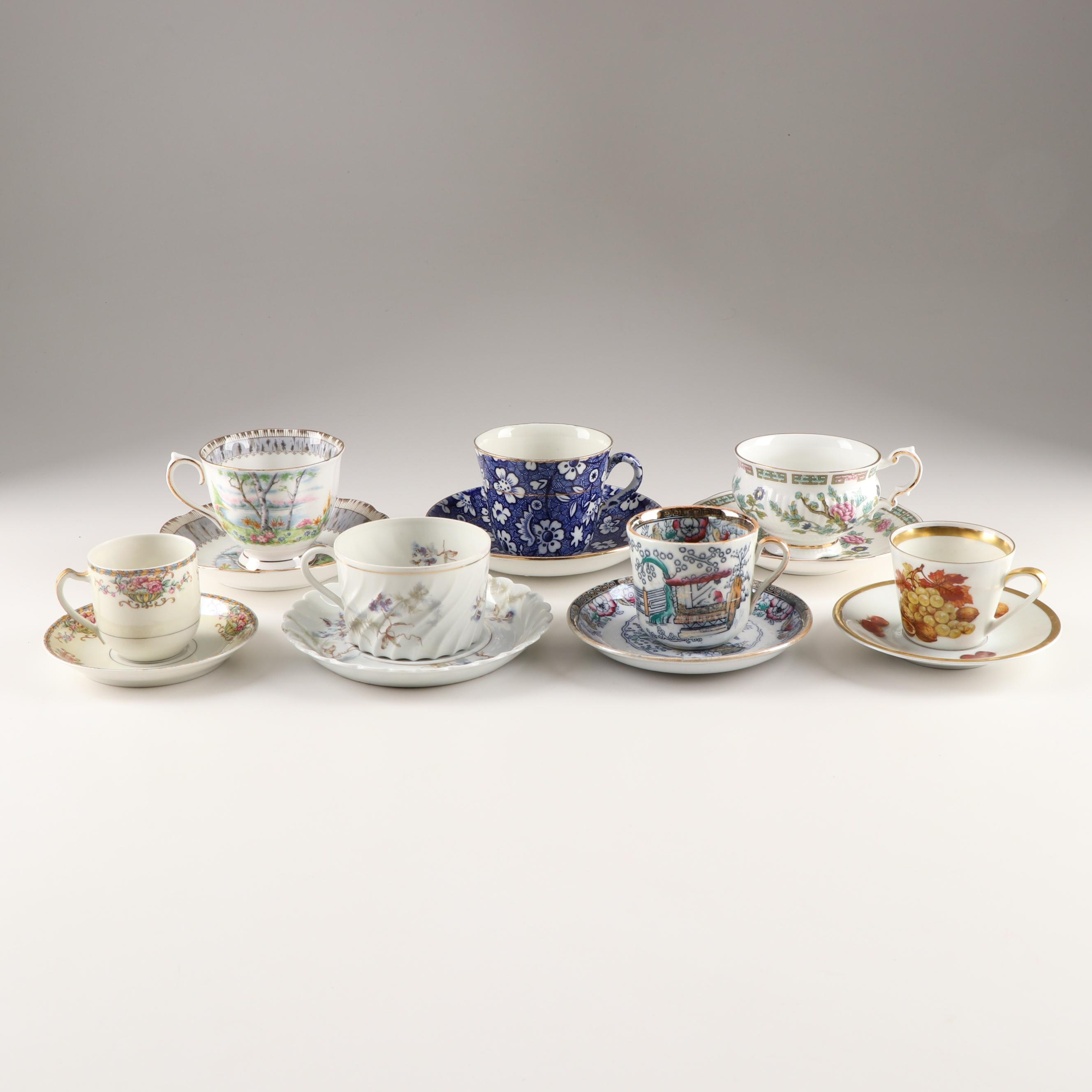 Mixed Demitasse and Teacups with Saucers Including Royal Albert