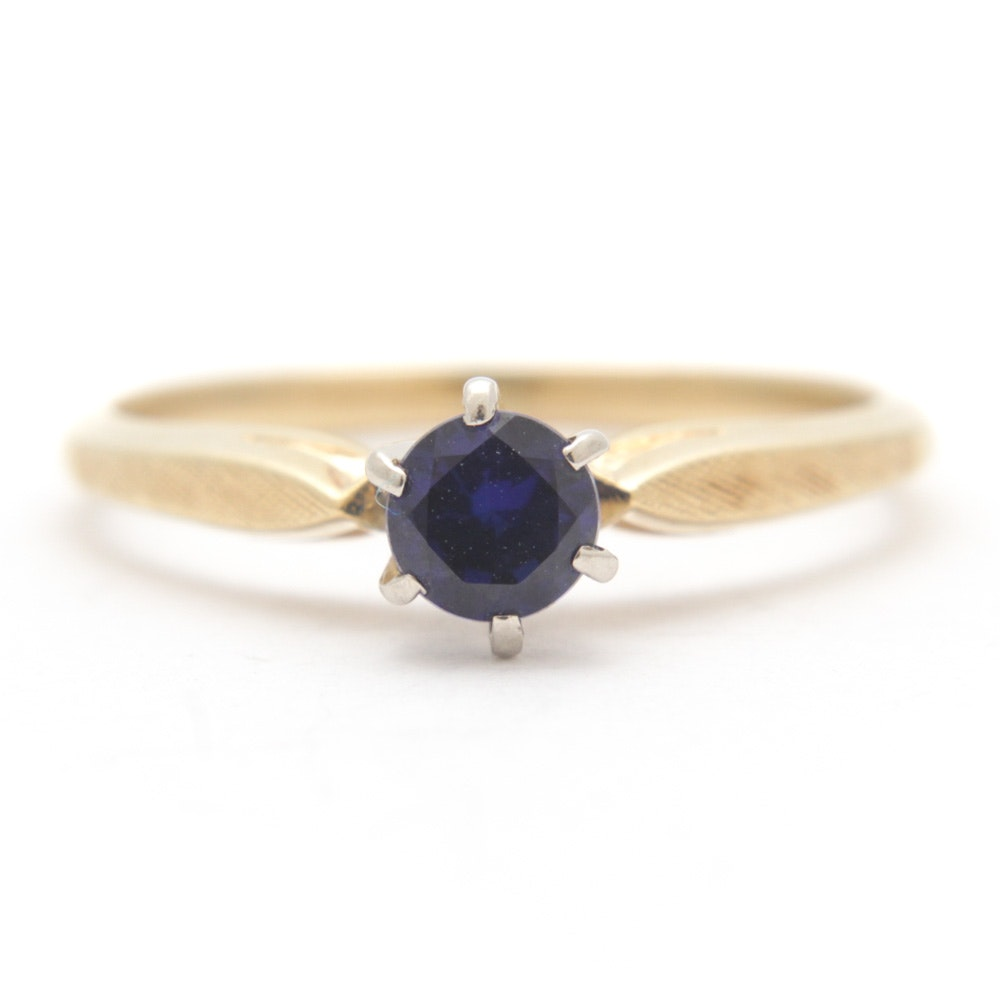 18K Yellow Gold Synthetic Sapphire Ring