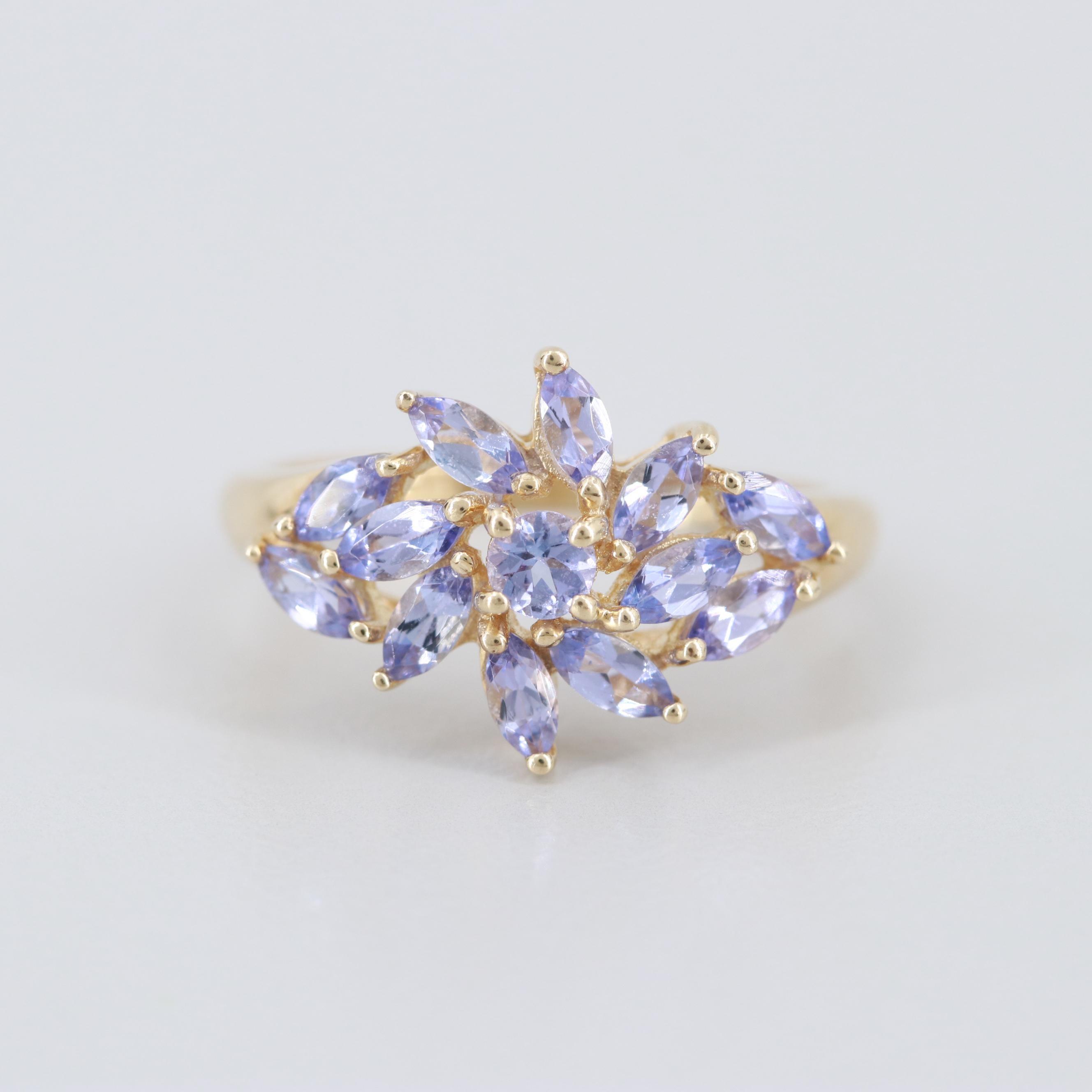 14K Yellow Gold Tanzanite Cluster Ring