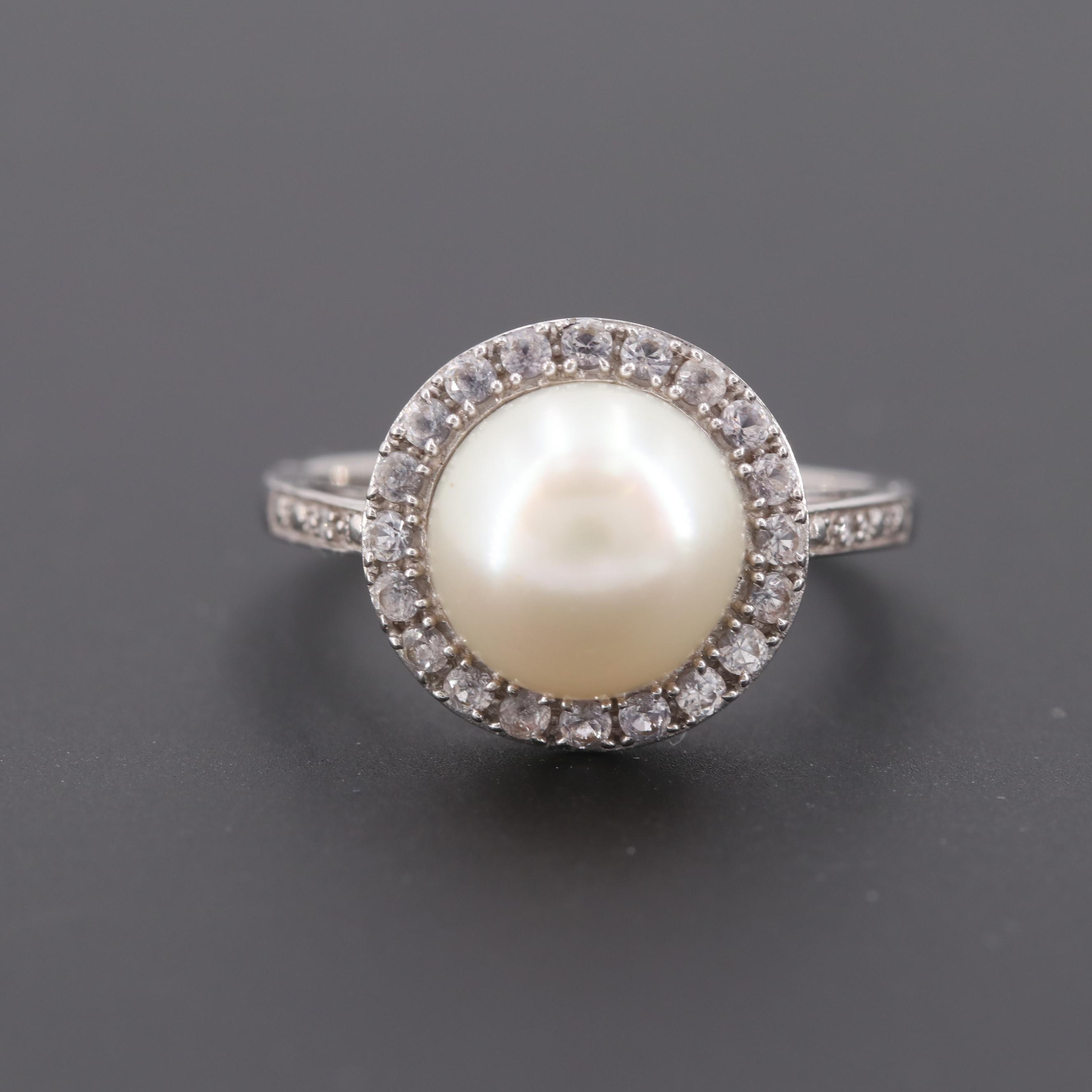 14K White Gold Cultured Pearl, Sapphire and Diamond Ring