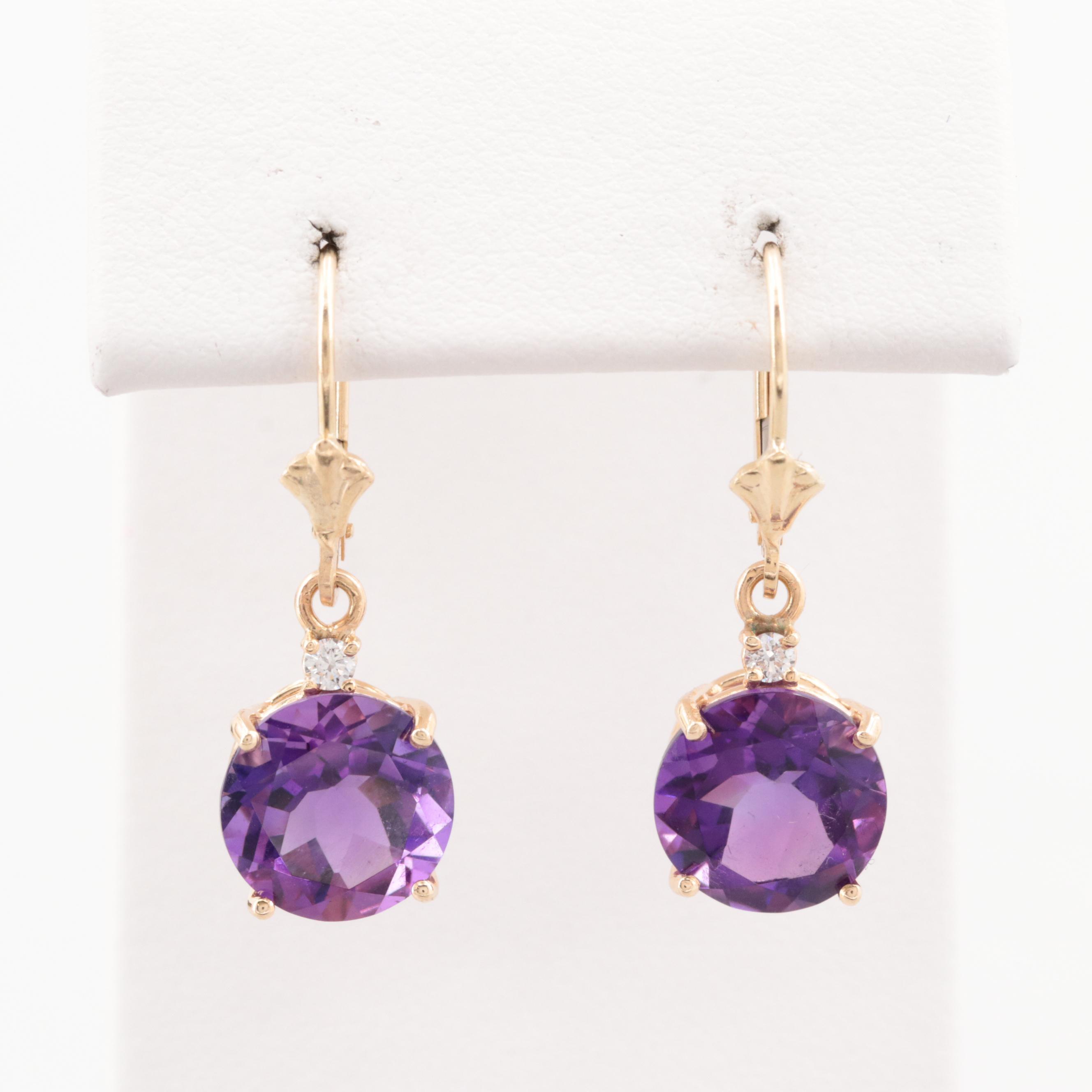 14K Yellow Gold Amethyst and Diamond Dangle Earrings