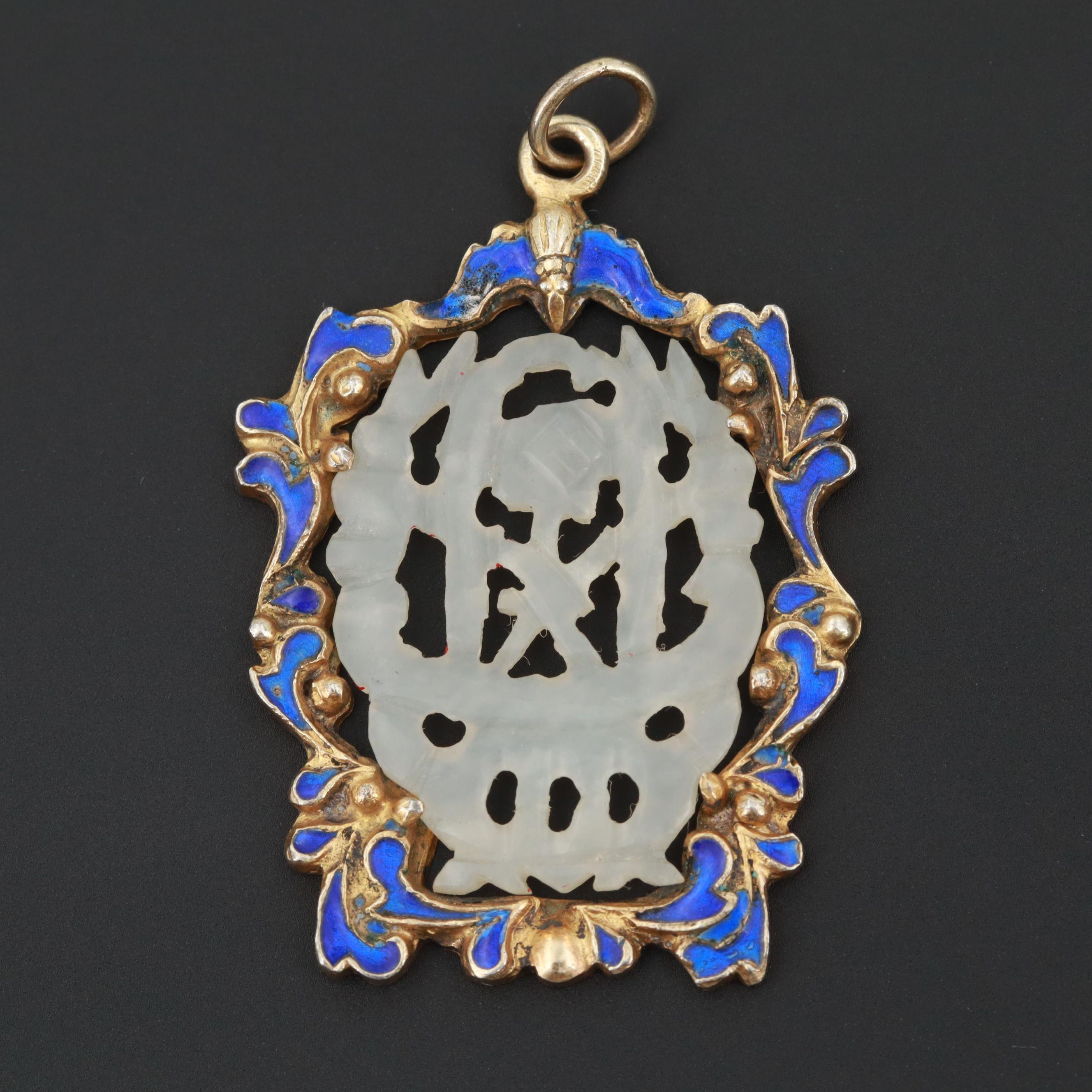 Chinese Gold Wash on Sterling Silver Bowenite and Enamel Pendant