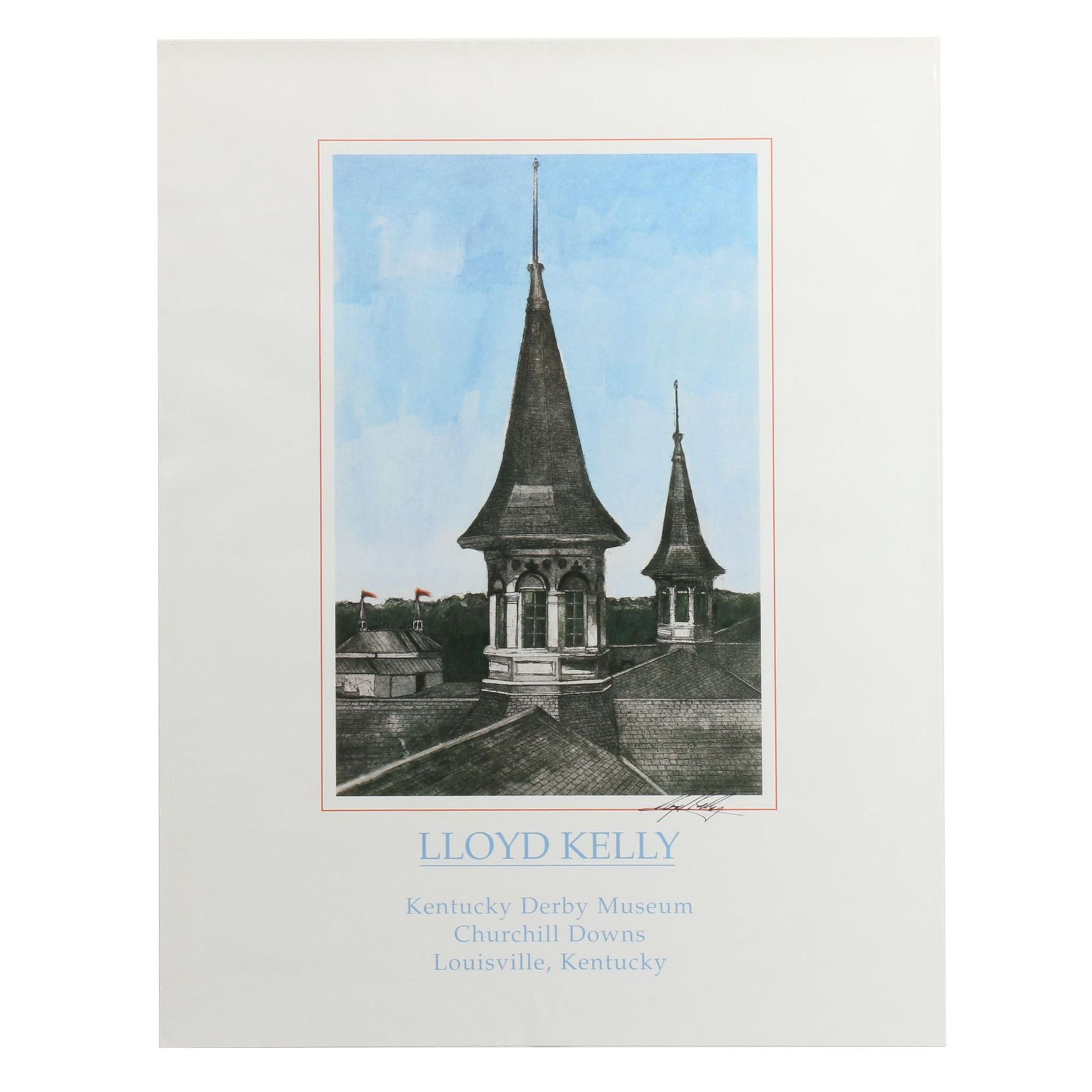 Artist Lloyd Kelly Signed Churchill Downs Art Poster