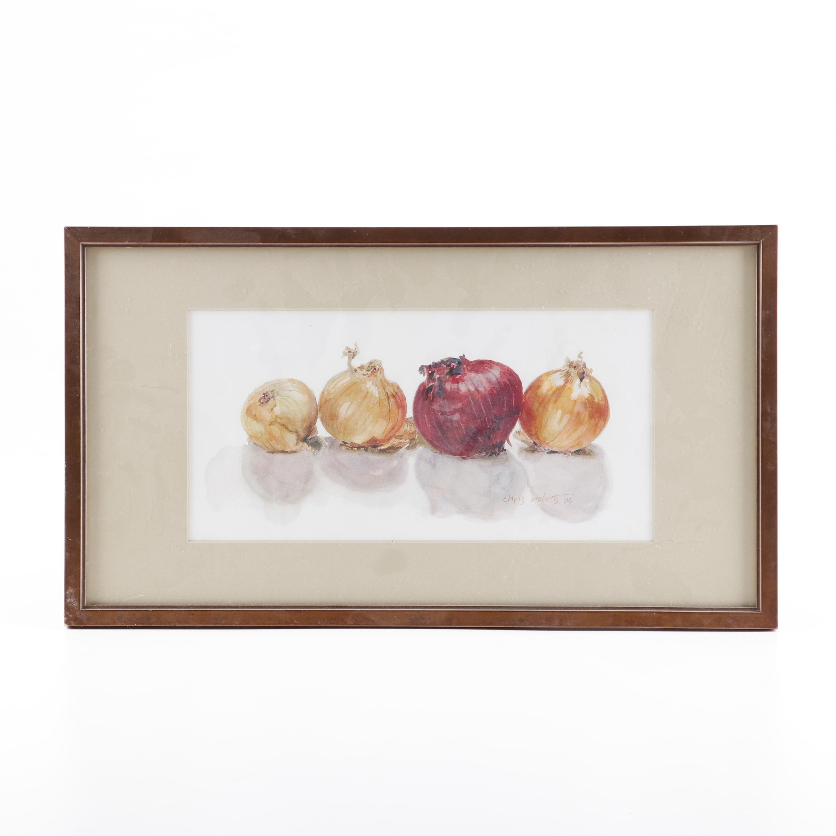 Chris Roberts Watercolor Painting of Onions