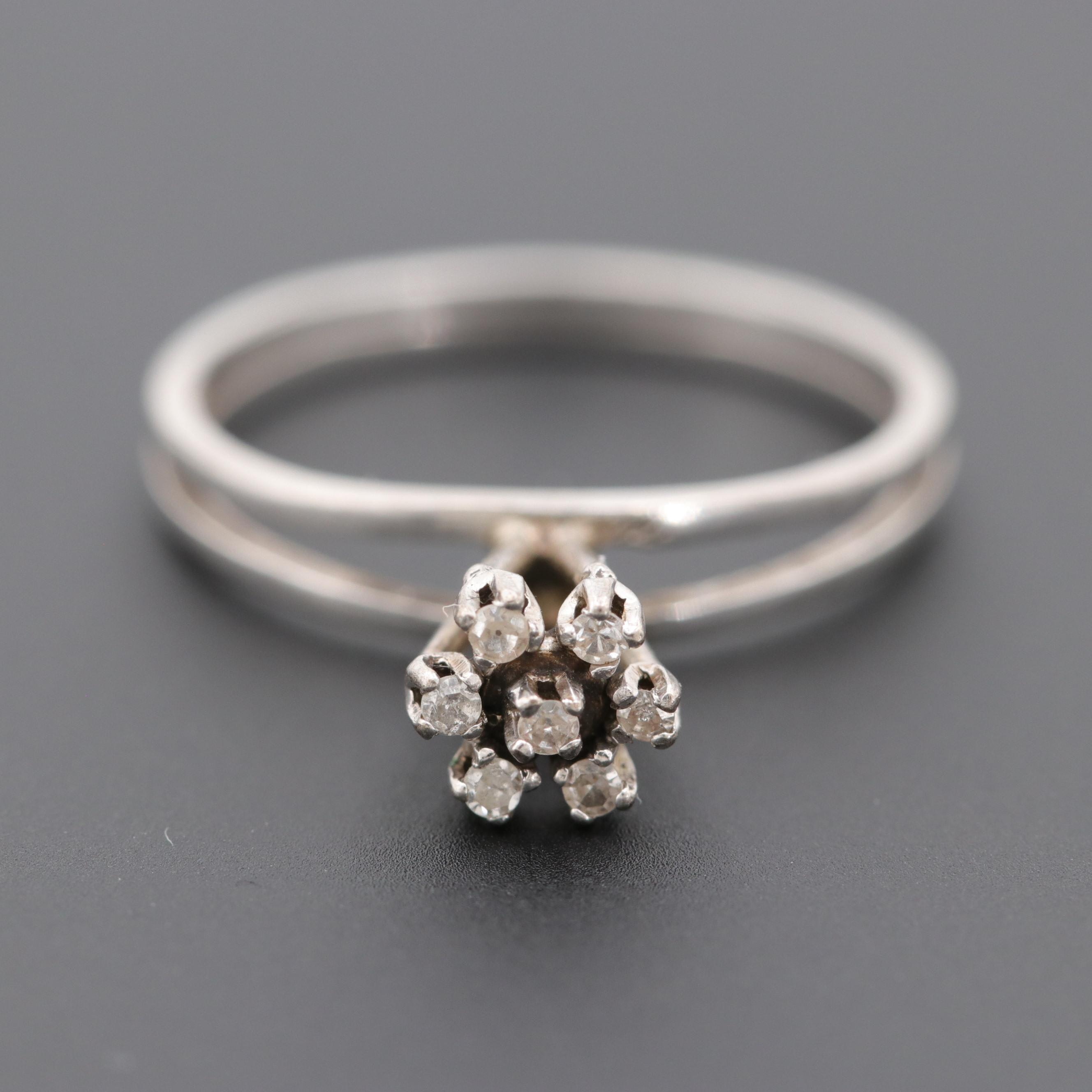 Circa 1940s Silver Palladium Alloy Diamond Ring