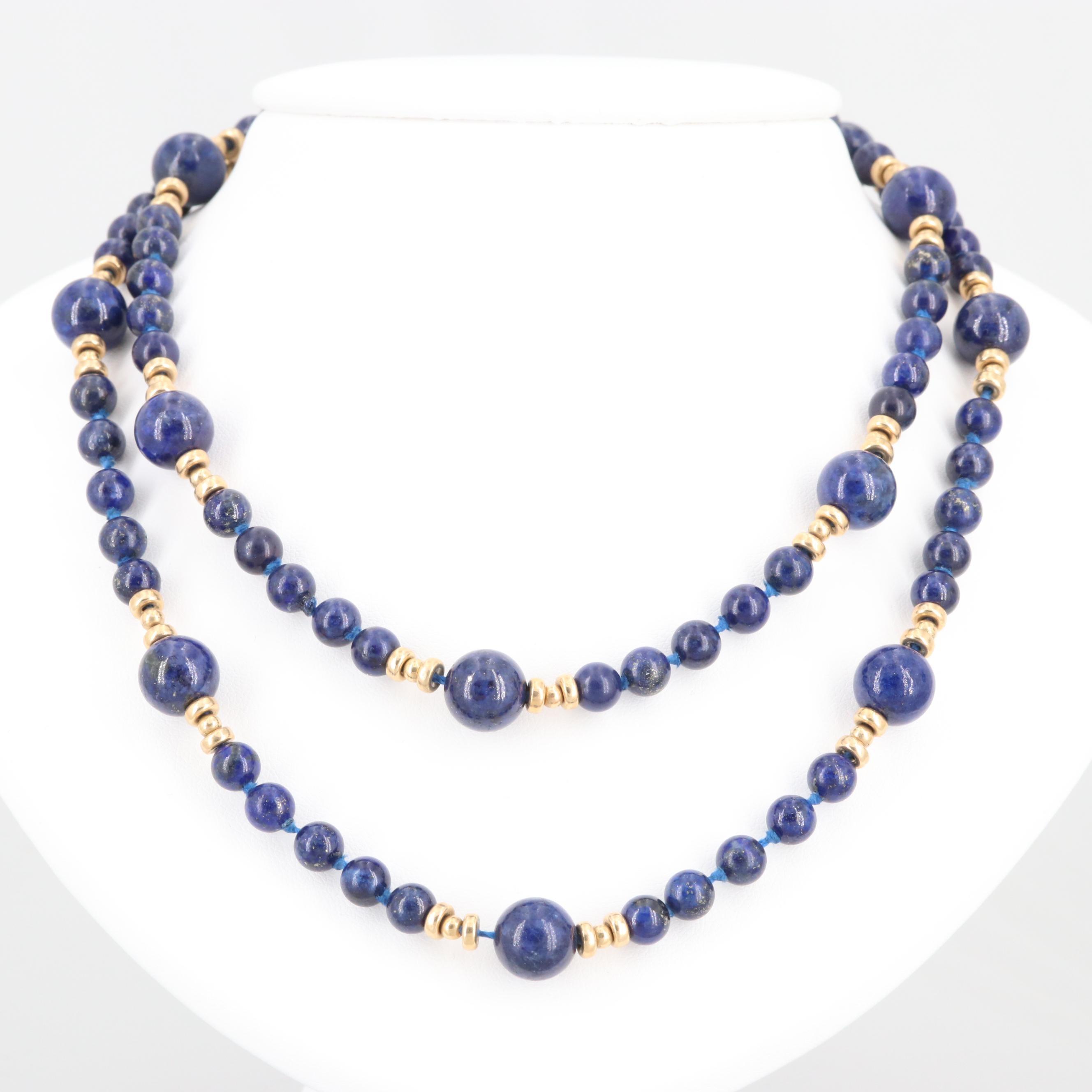 14K Yellow Gold Lapis Lazuli Endless Necklace