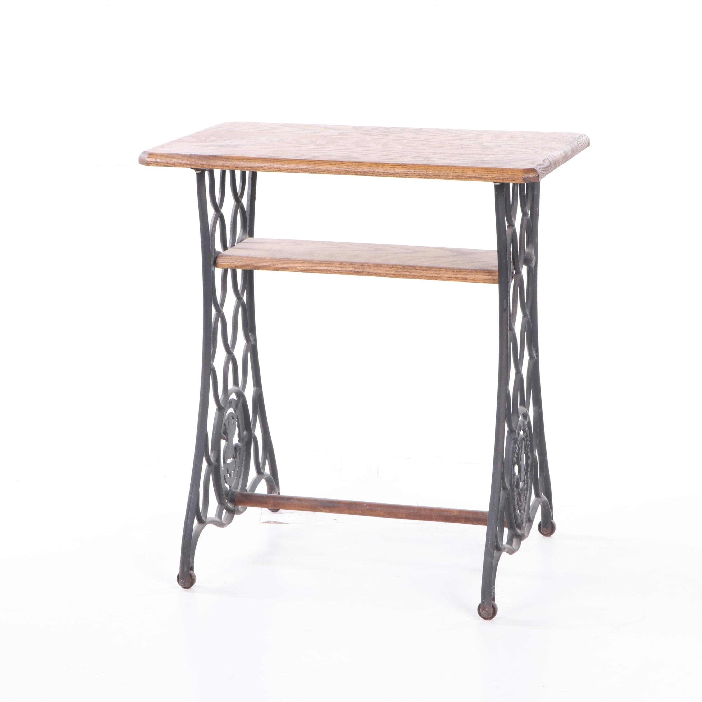 Cast Iron Singer Sewing Table Treadle Base with Oak Table Top, 1920s and Later