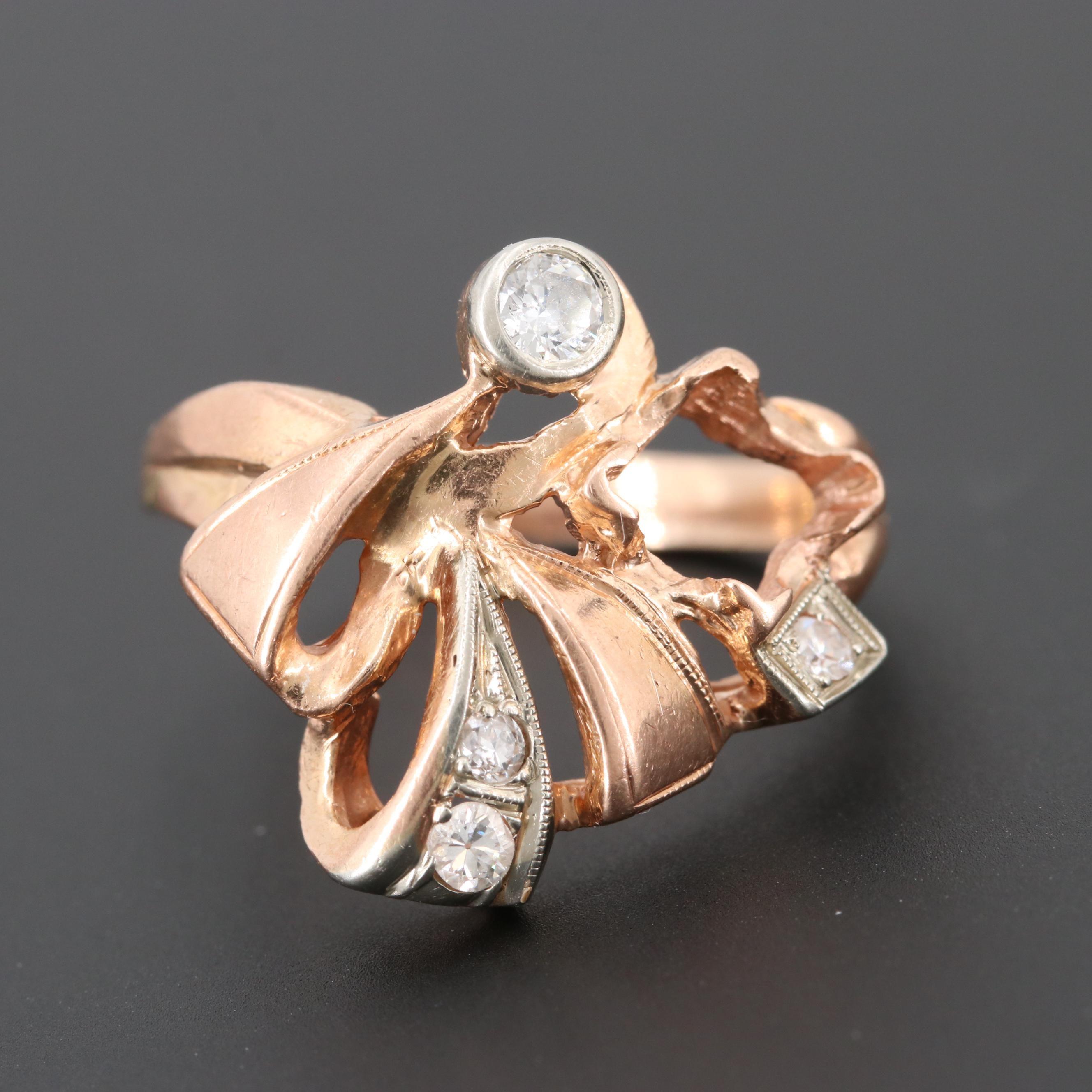 Retro 10K Rose Gold Semi-Mount Diamond Ring