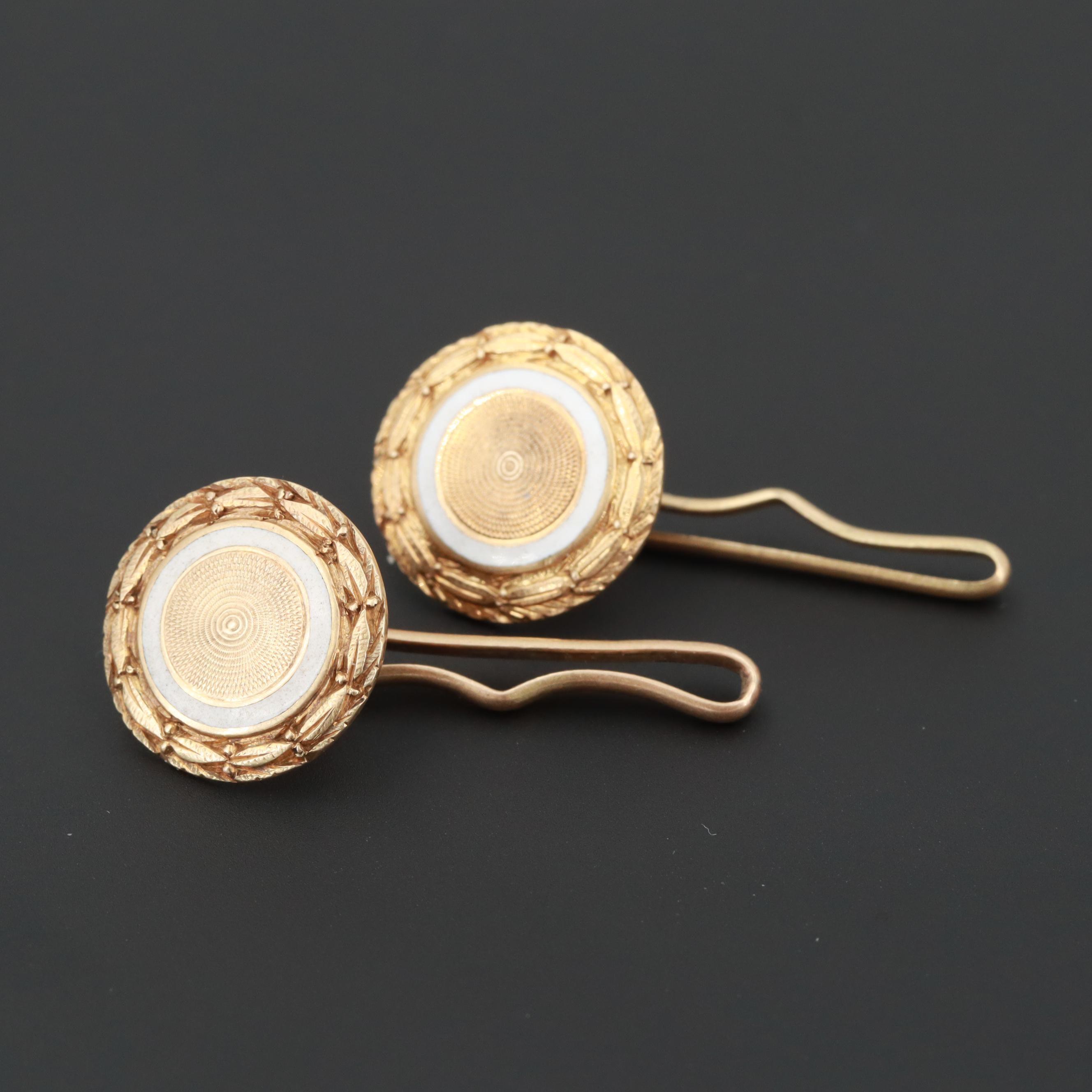 Edwardian Carrington & Company 14K Yellow Gold Enamel Button Stud Cufflinks
