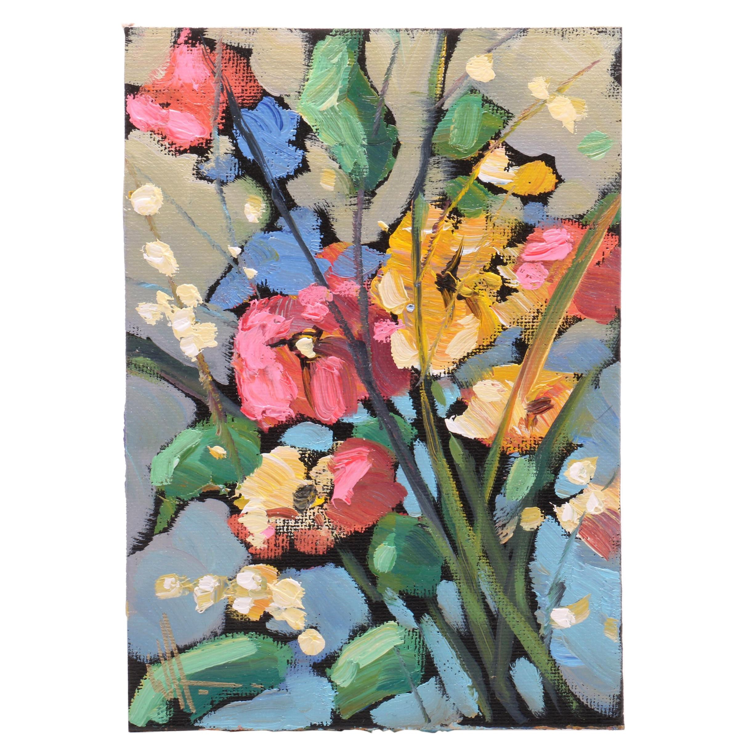 William Hawkins Floral Oil Painting