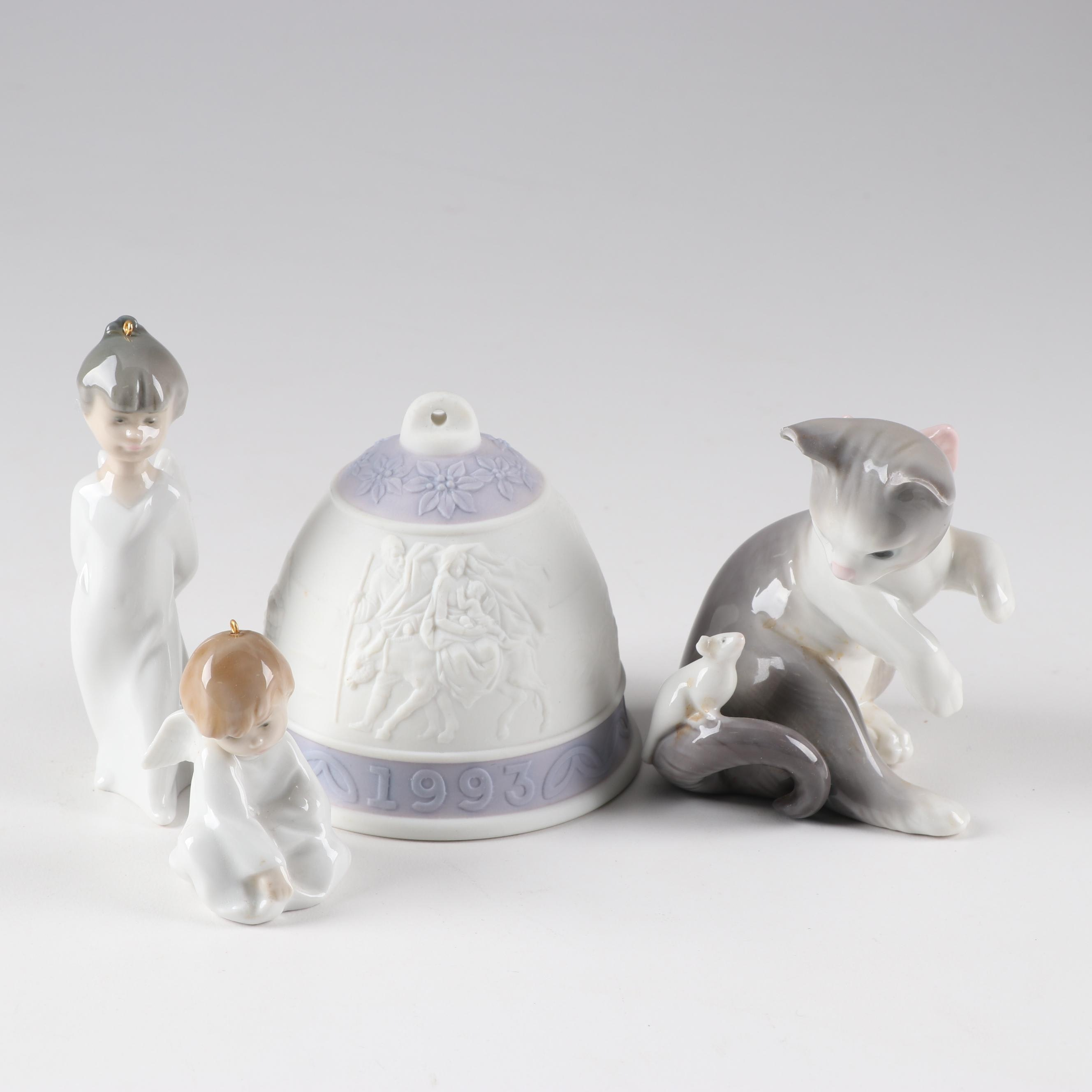 "Lladró 1993 Bisque Bell, Angel Ornaments and ""Cat and Mouse"" Porcelain"