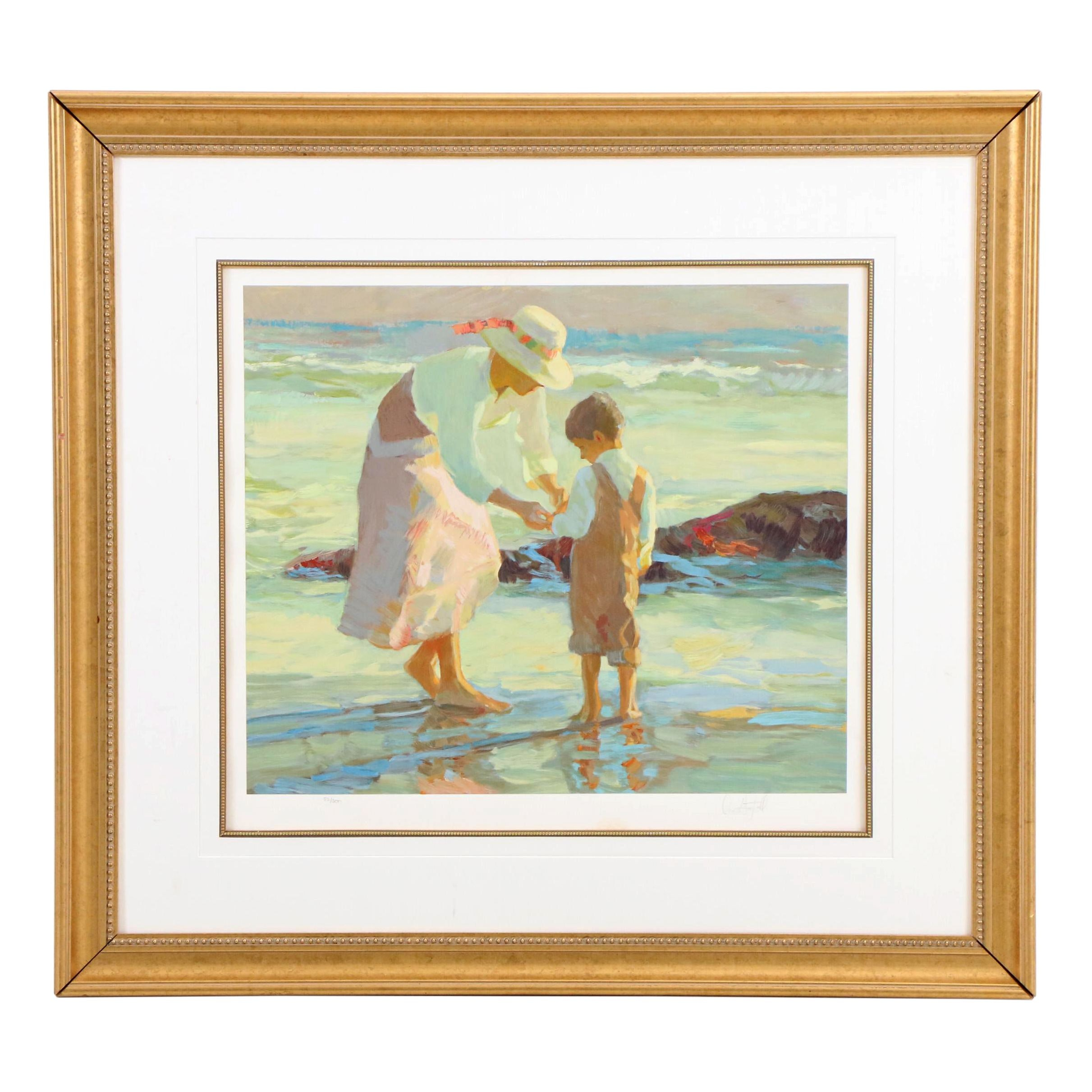 "Don Hatfield Impressionist Serigraph ""Mother and Son"""