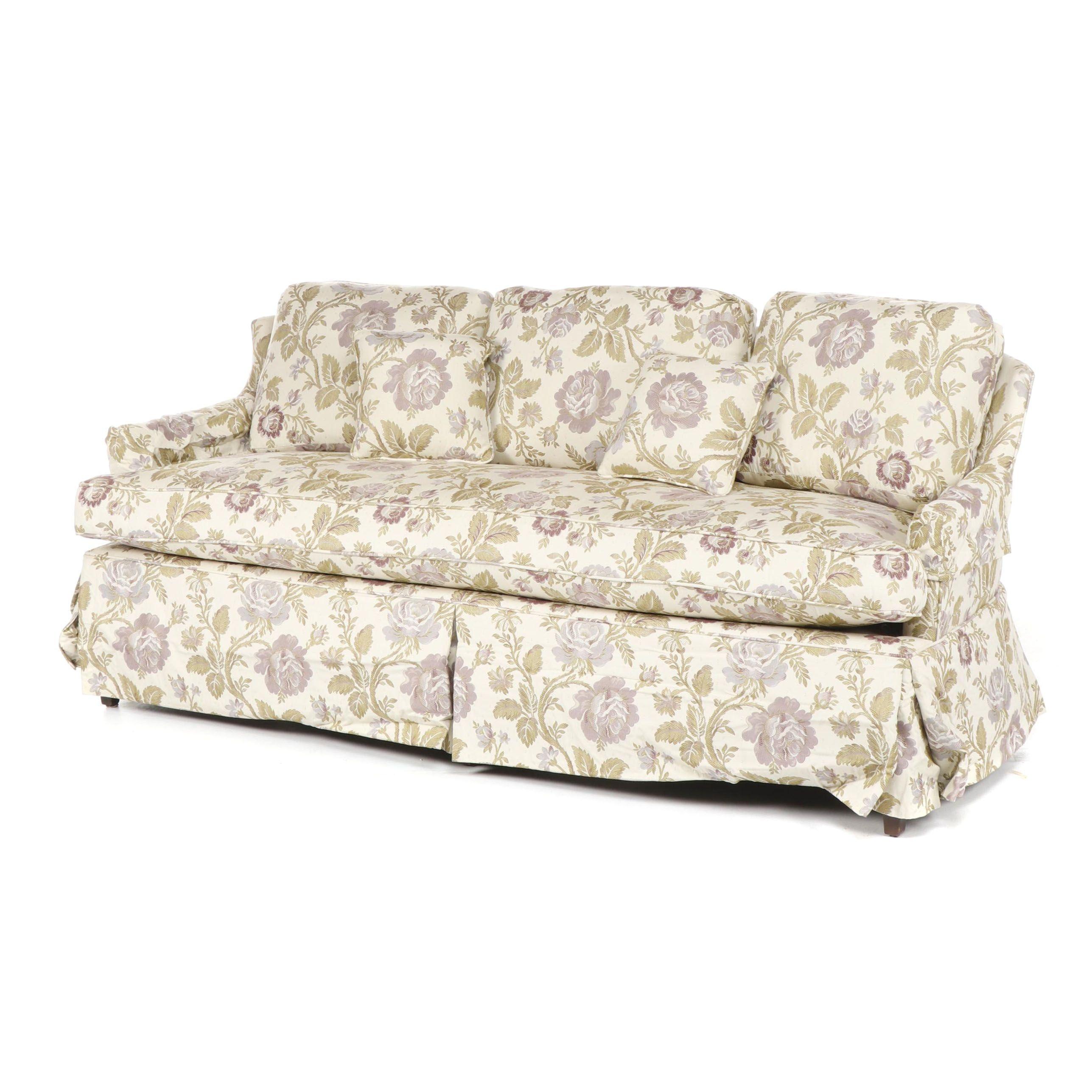 Floral Upholstered Sofa by Kirschner's Custom Upholstering, 21st Century