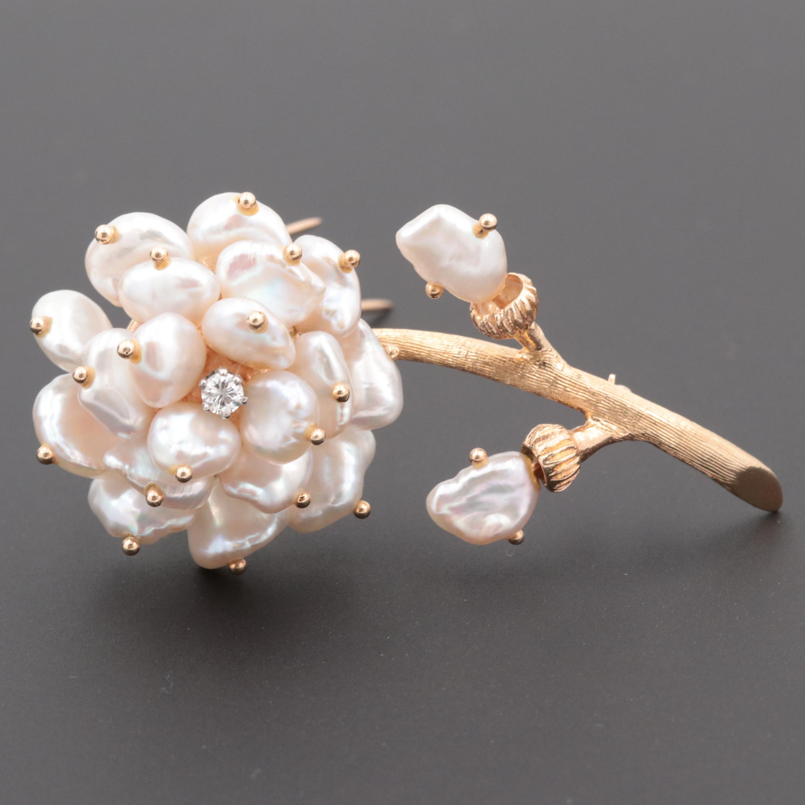 Vintage Lazarus Jewelers 14K Yellow Gold Diamond and Cultured Pearl Brooch