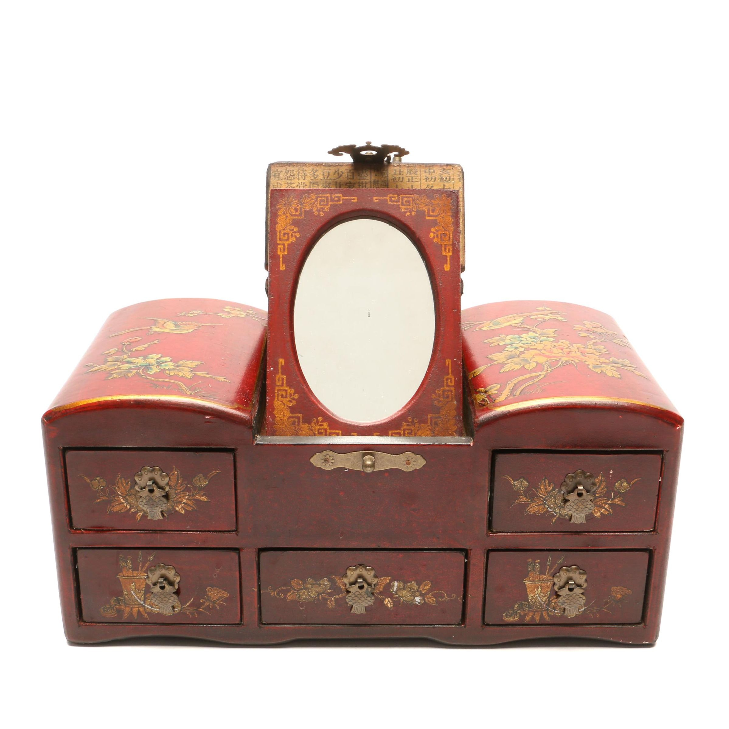 Chinese Painted Wooden Jewelry Box with Mirror