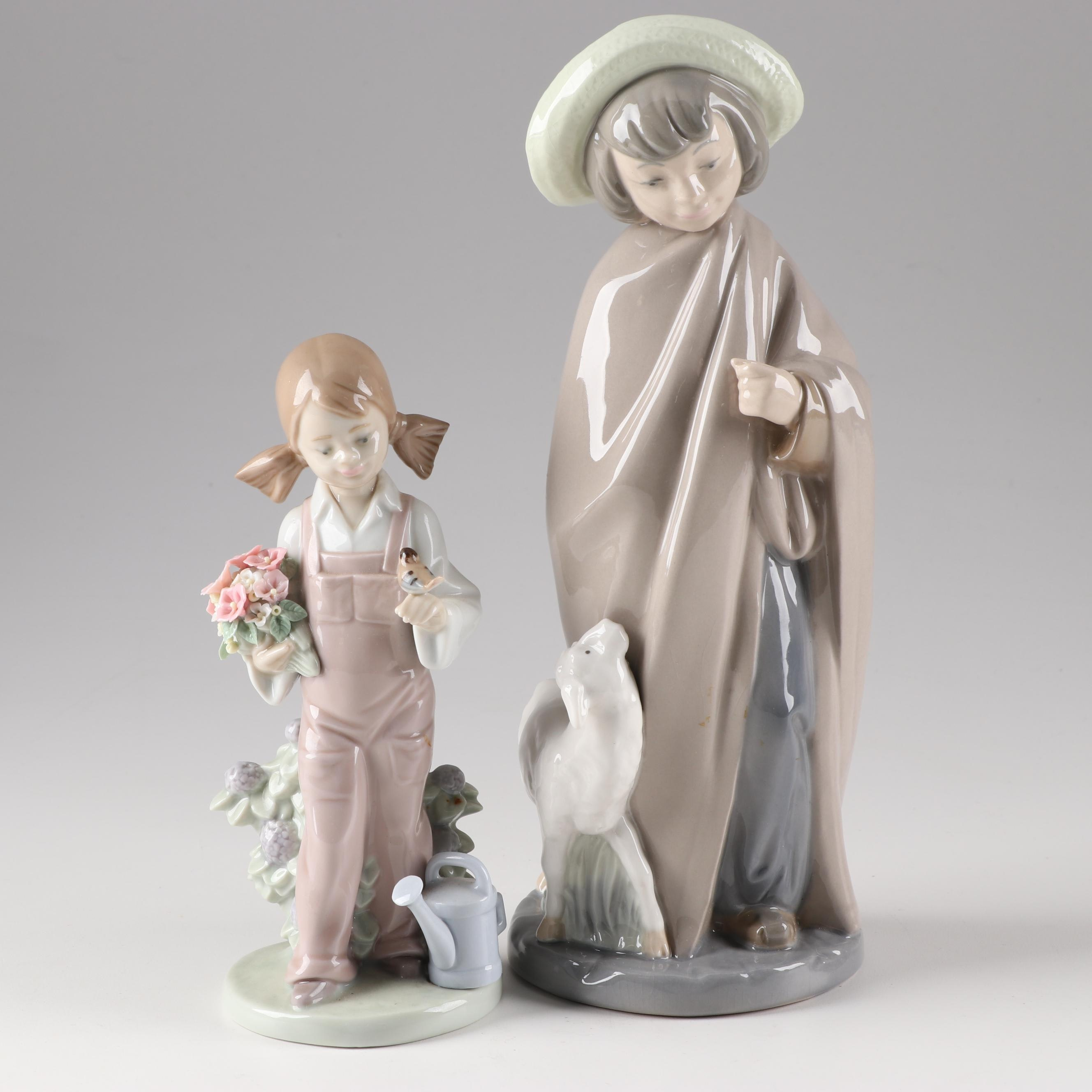 "Lladró ""Spring Girl"" and Nao ""Shepherd Boy"" Hand-Painted Porcelain Figurines"