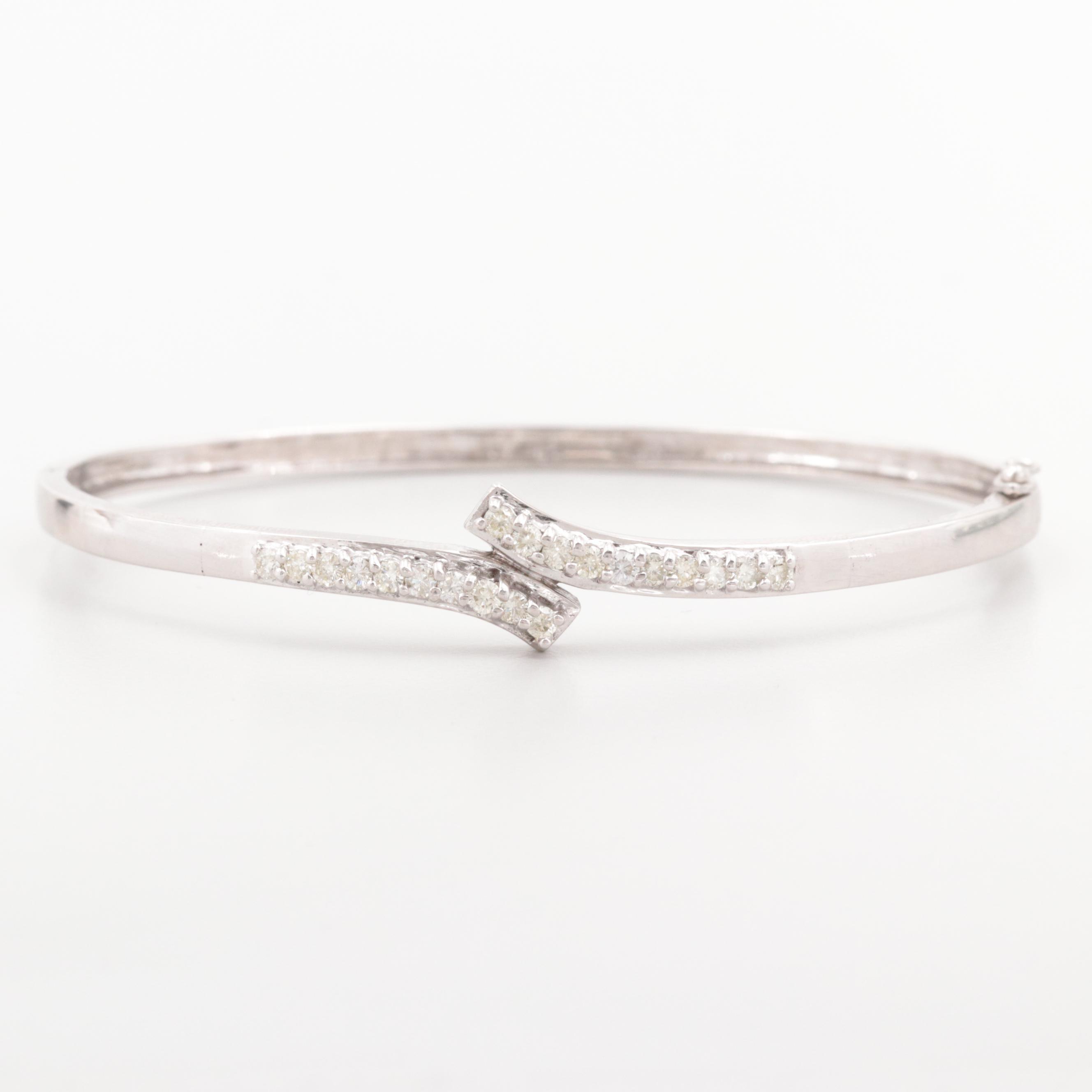 14K White Gold Diamond Bypass Bangle Bracelet