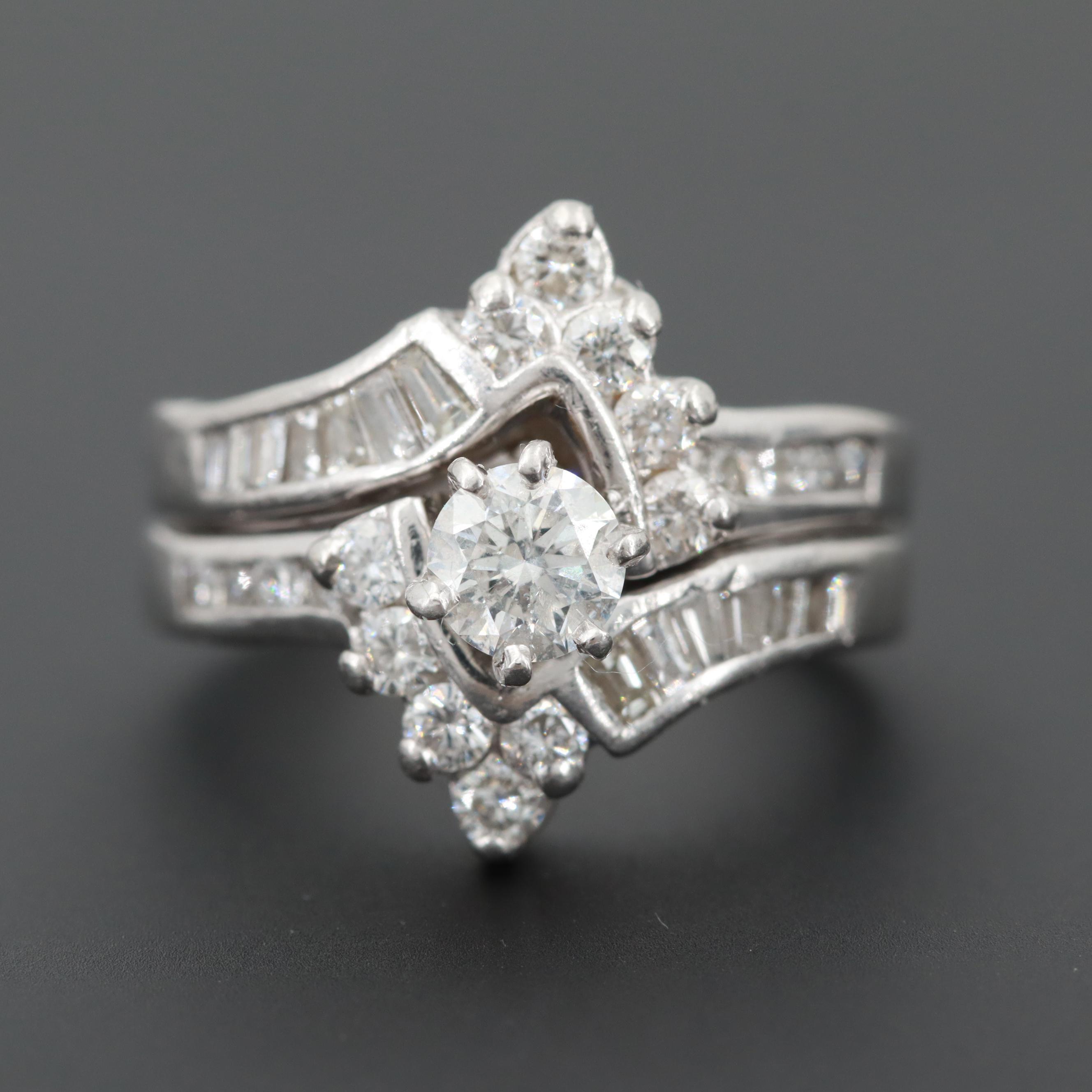 Platinum 1.25 CTW Diamond Ring with Ring Enhancer