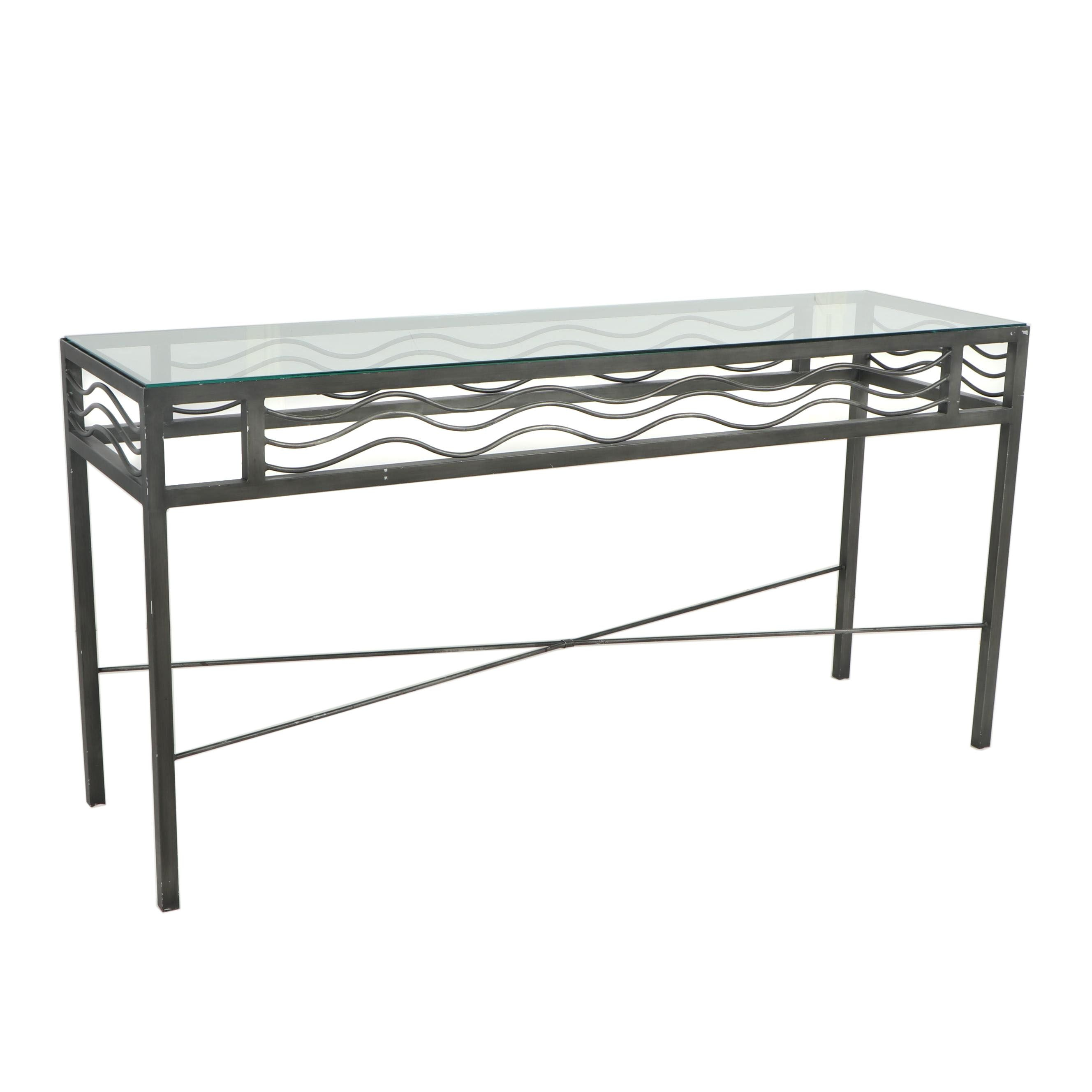 Glass and Metal Console Table, 21st Century