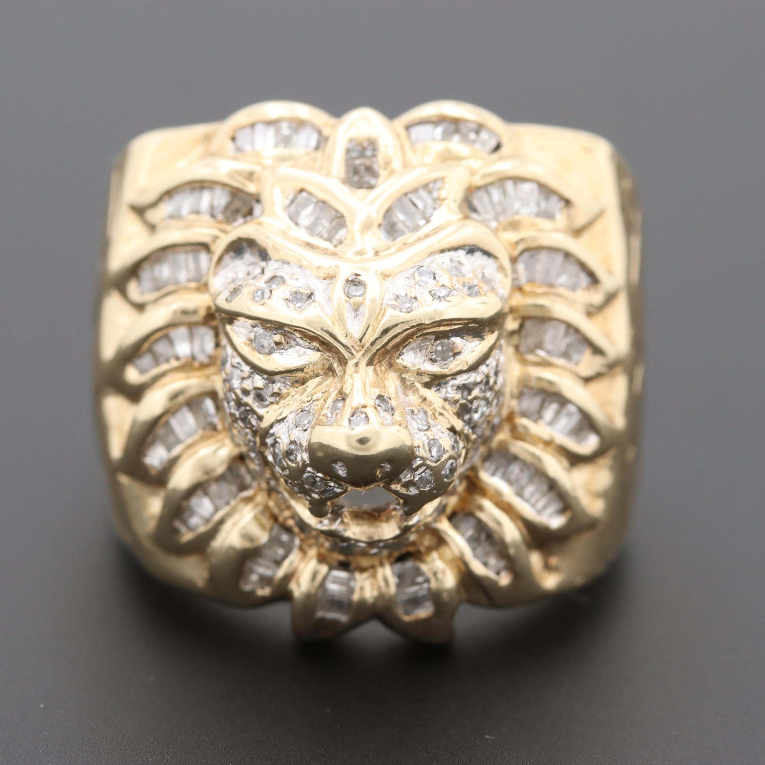10K Yellow Gold Diamond Lion Ring