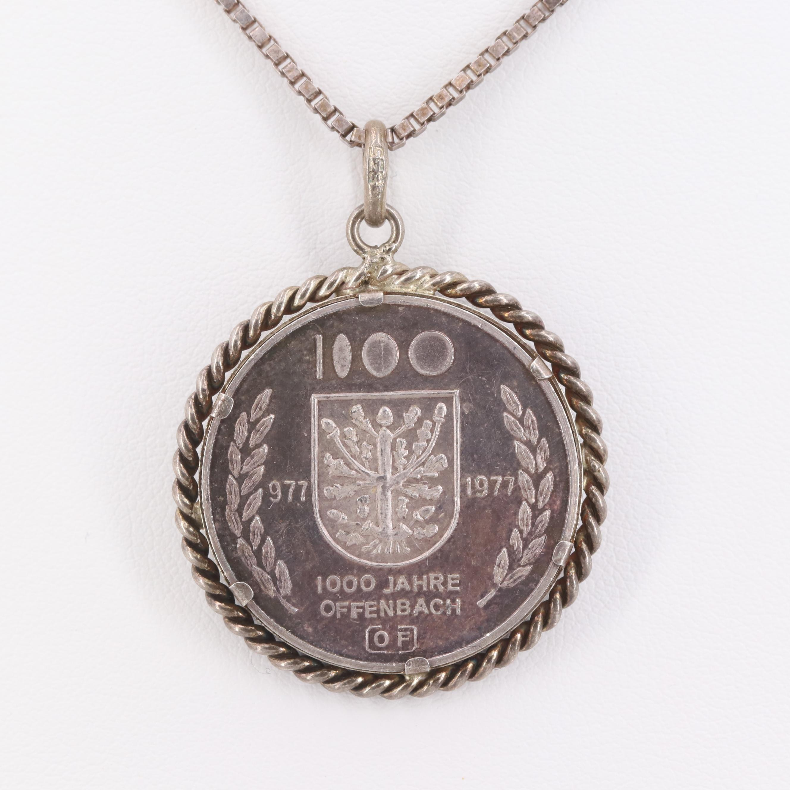 835 and Sterling Silver Necklace and 0.999 Offenbach am Main Commemorative Metal